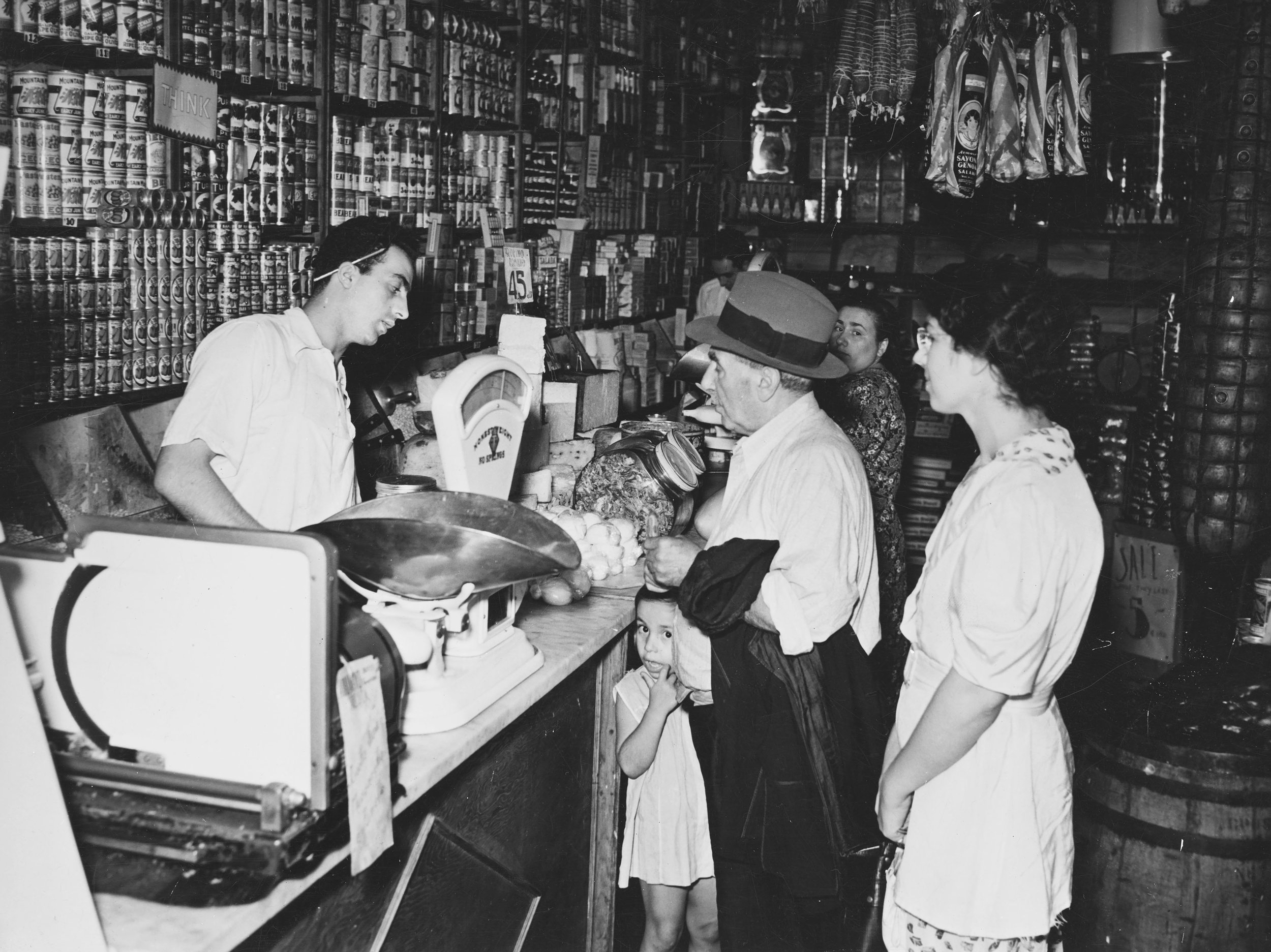 Italian grocery store, 1937.  WPA FWP Shop Interiors, #10  Photograph by Ezzes. WPA Art Project, neg. no. 2449-6.