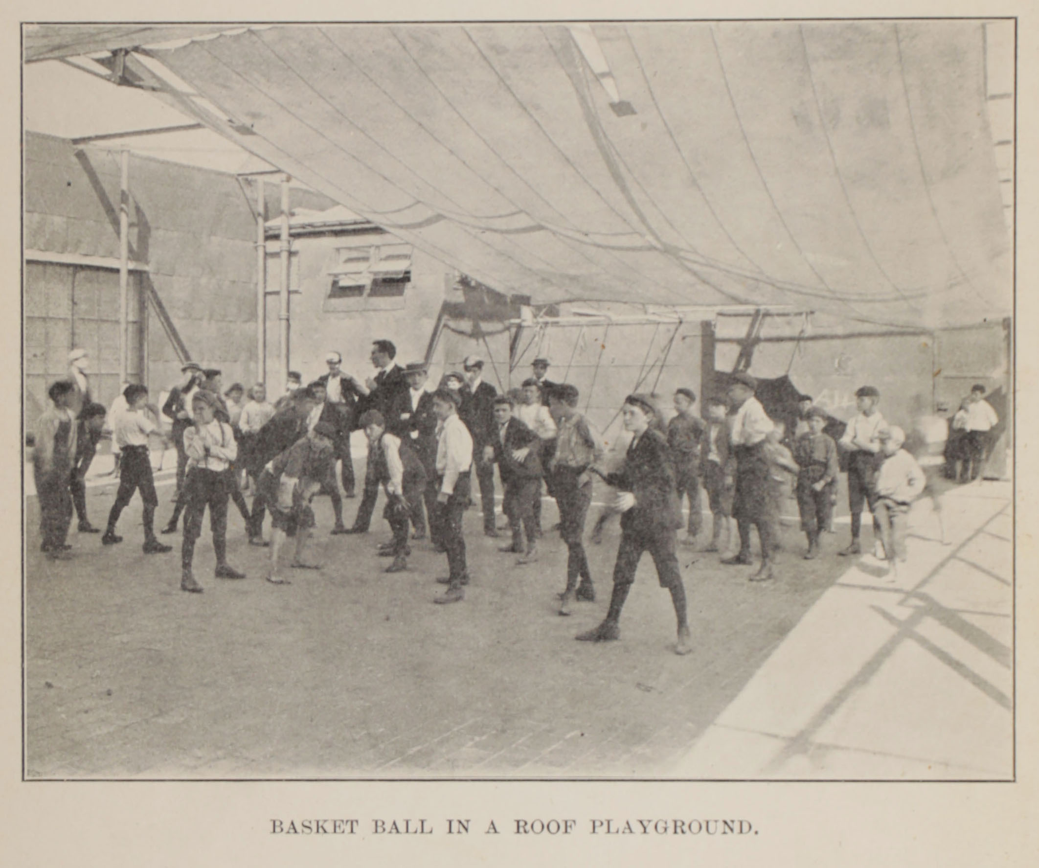 Basket Ball in a Roof Playground,  Report on the vacation schools and play grounds , 1899. Board of Education Collection, NYC Municipal Archives.