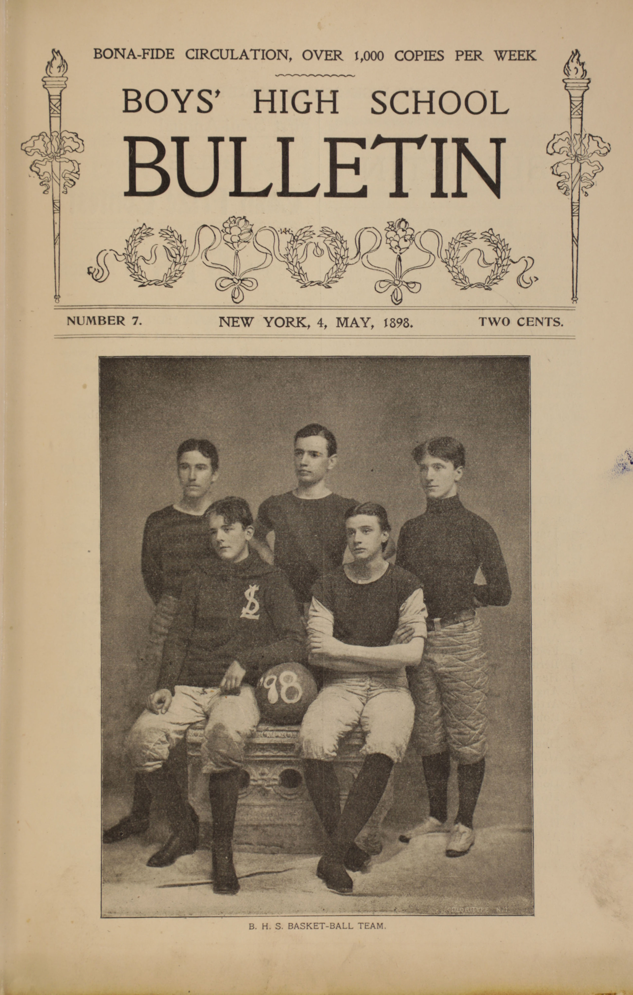 Boys' High School Bulletin , #7, May 4, 1898. Board of Education Collection, NYC Municipal Archives.