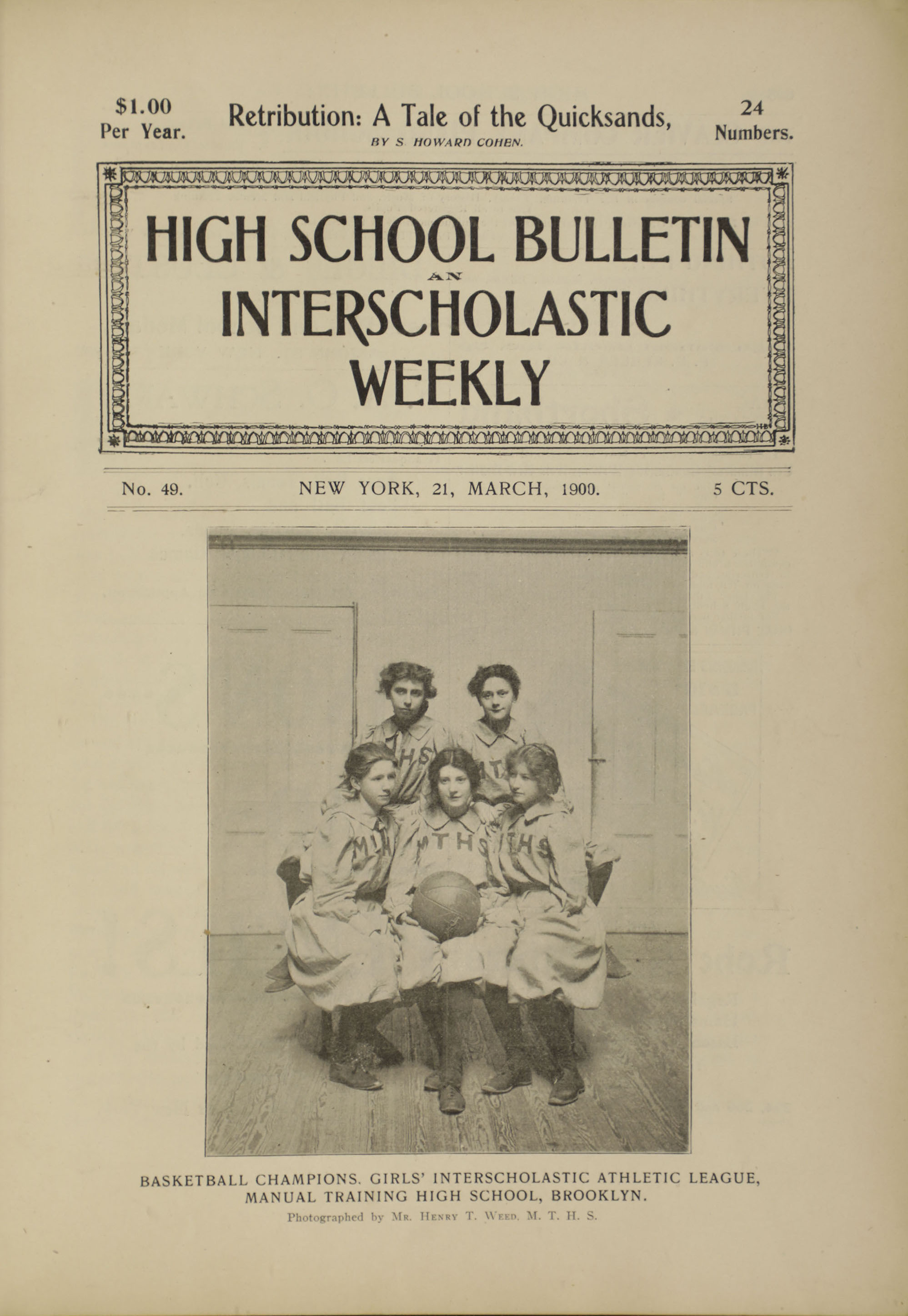 Basketball Champions, Girls' Interscholastic Athletic League, Manual Training High School, Brooklyn.  High School Bulletin , No. 49, March 1900. Board of Education Collection, NYC Municipal Archives.
