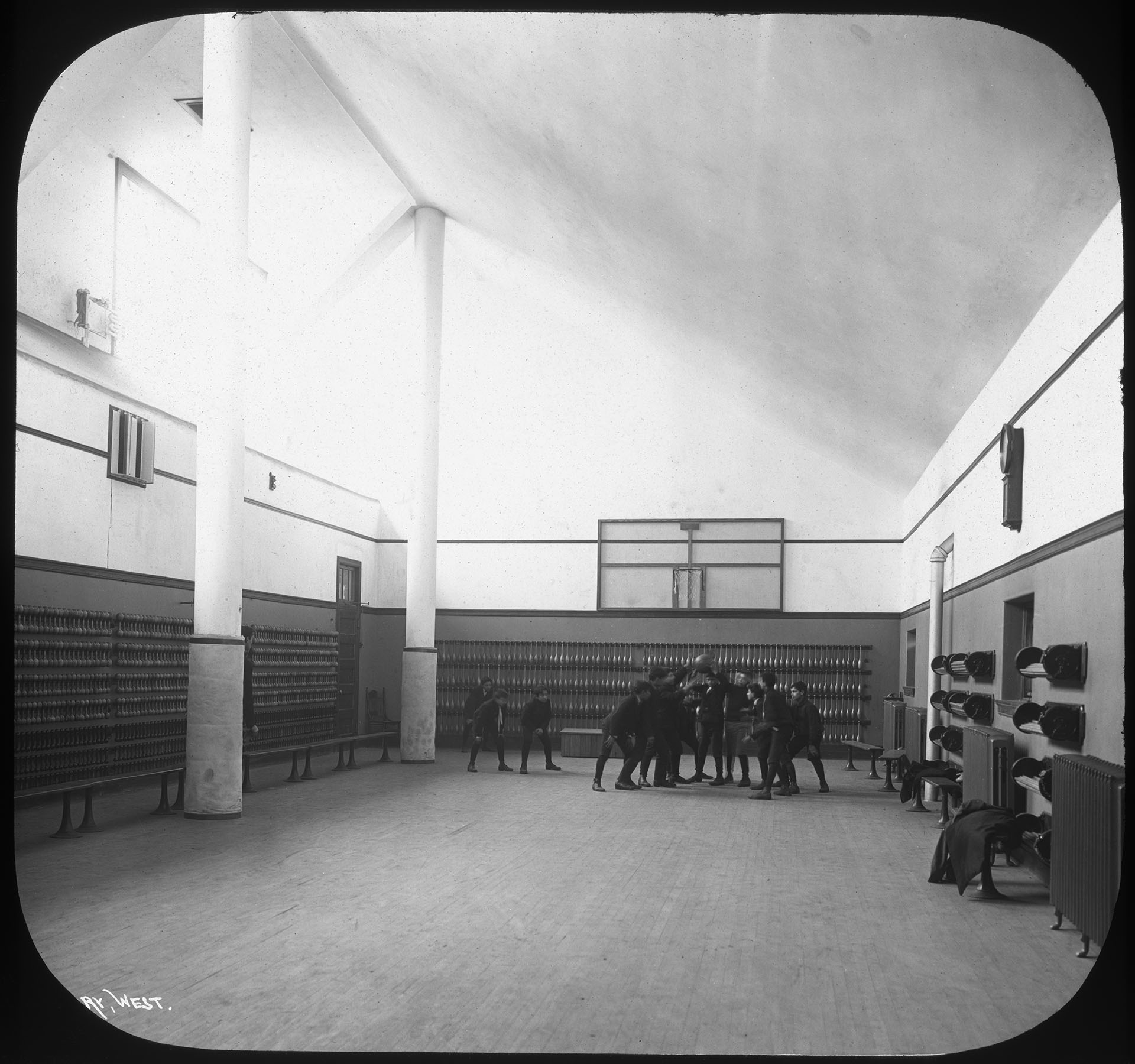 BOE_72020 PS 62 Manhattan, Basketball court, ca. 1908. Note the size of the recently introduced backboard. Board of Education Collection, NYC Municipal Archives.