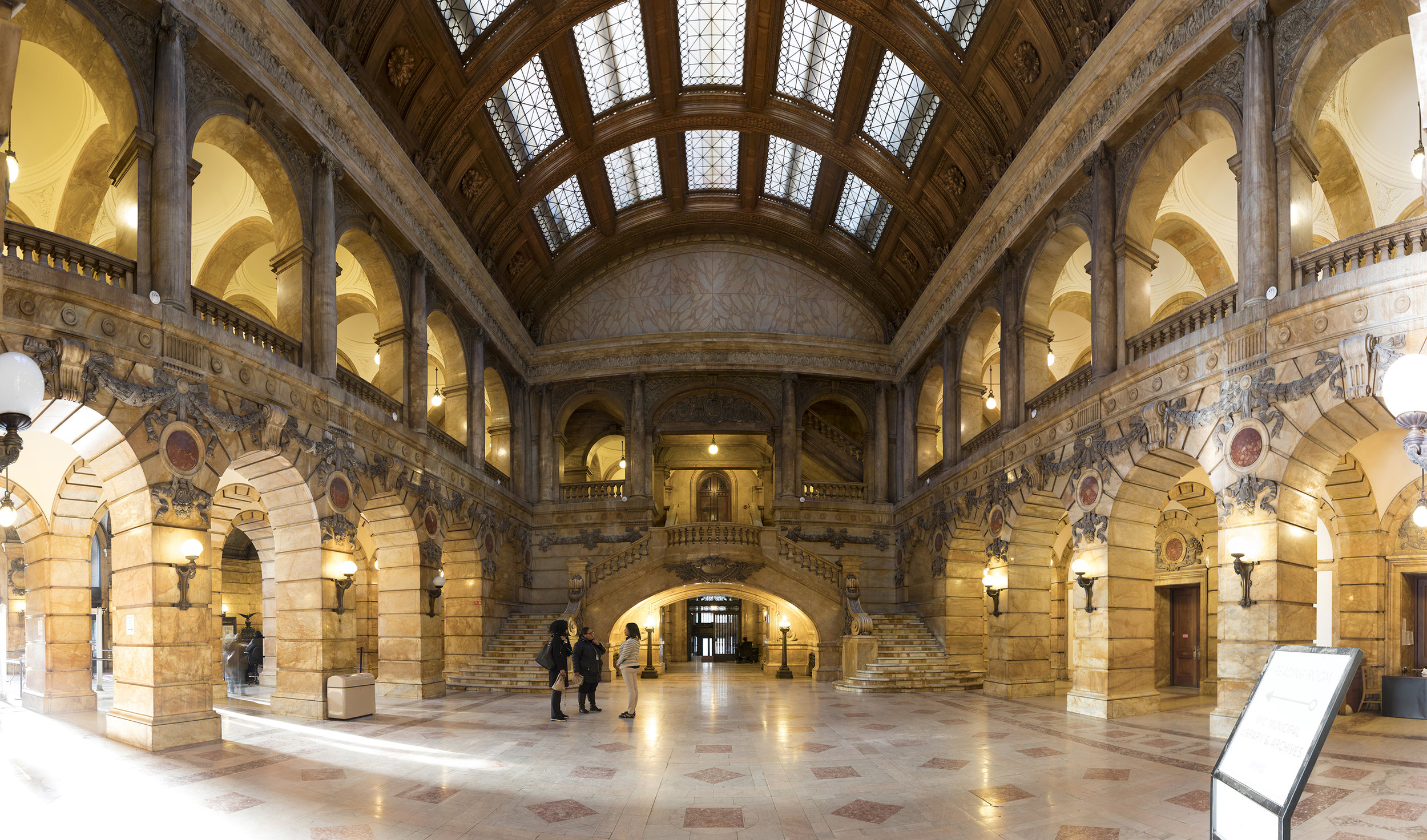 A panoramic image created from 49 separate exposures shows the beautiful rotunda of 31 Chambers Street after repairs