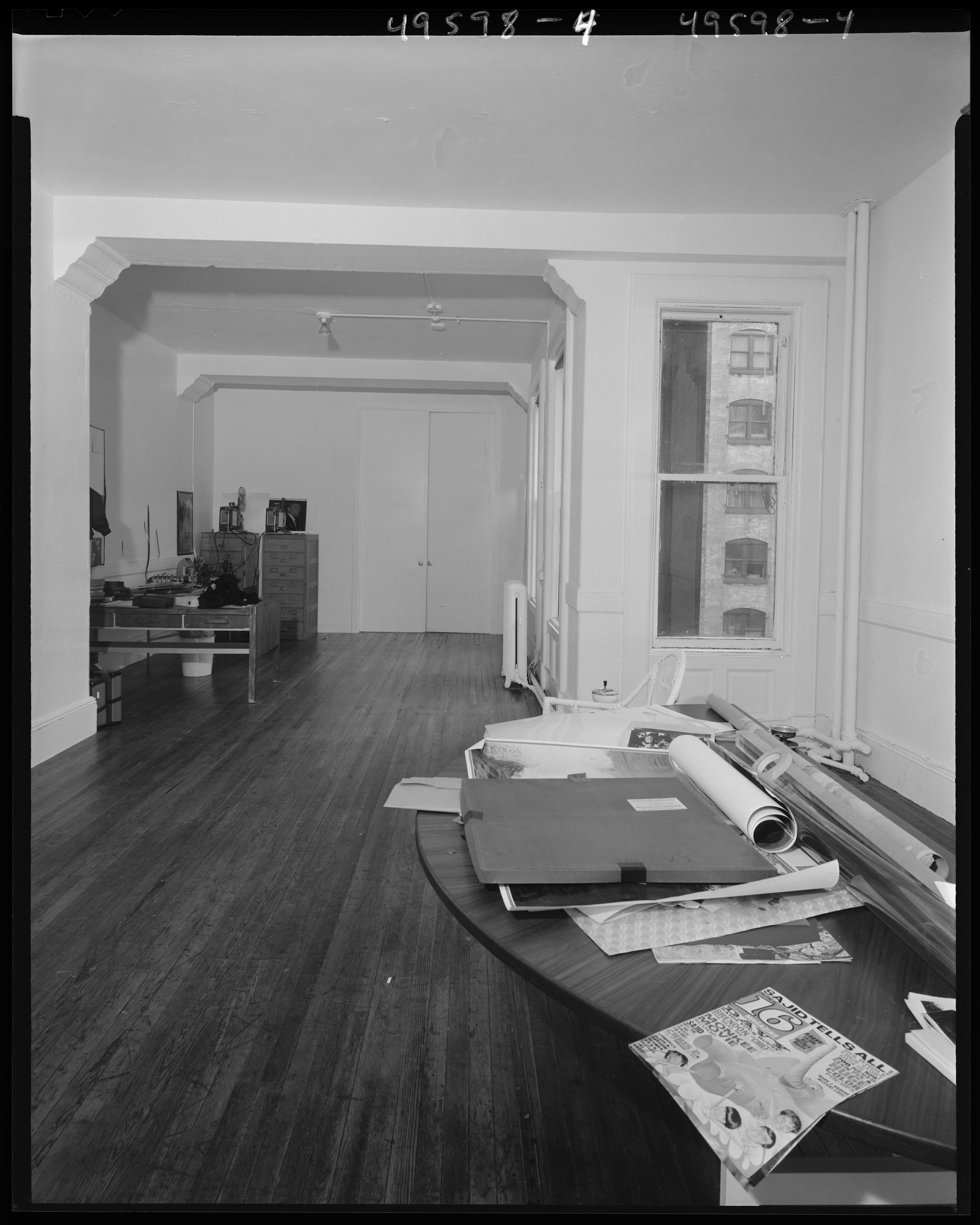 nypd_49598-04: Felonious assault scene at 33 Union Square where Andy Warhol and Mario Amaya were shot by Valerie Solanas, front room towards rear door, facing west, June 4, 1968. NYPD Photo Collection, NYC Municipal Archives.