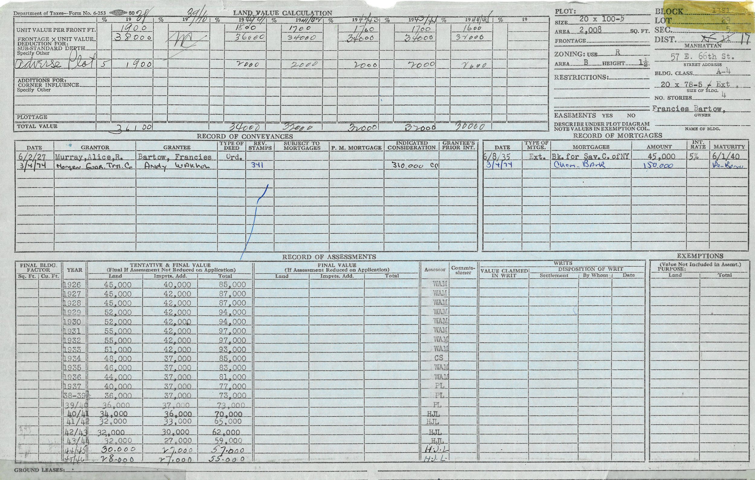 """Warhol's name appears on the Department of Finance """"property card"""" record for 57 E. 66th Street, Manhattan Block 1381, Lot 29, in the conveyance section, acquiring title to the townhouse on March 4, 1974. Department of Finance Collection, NYC Municipal Archives."""