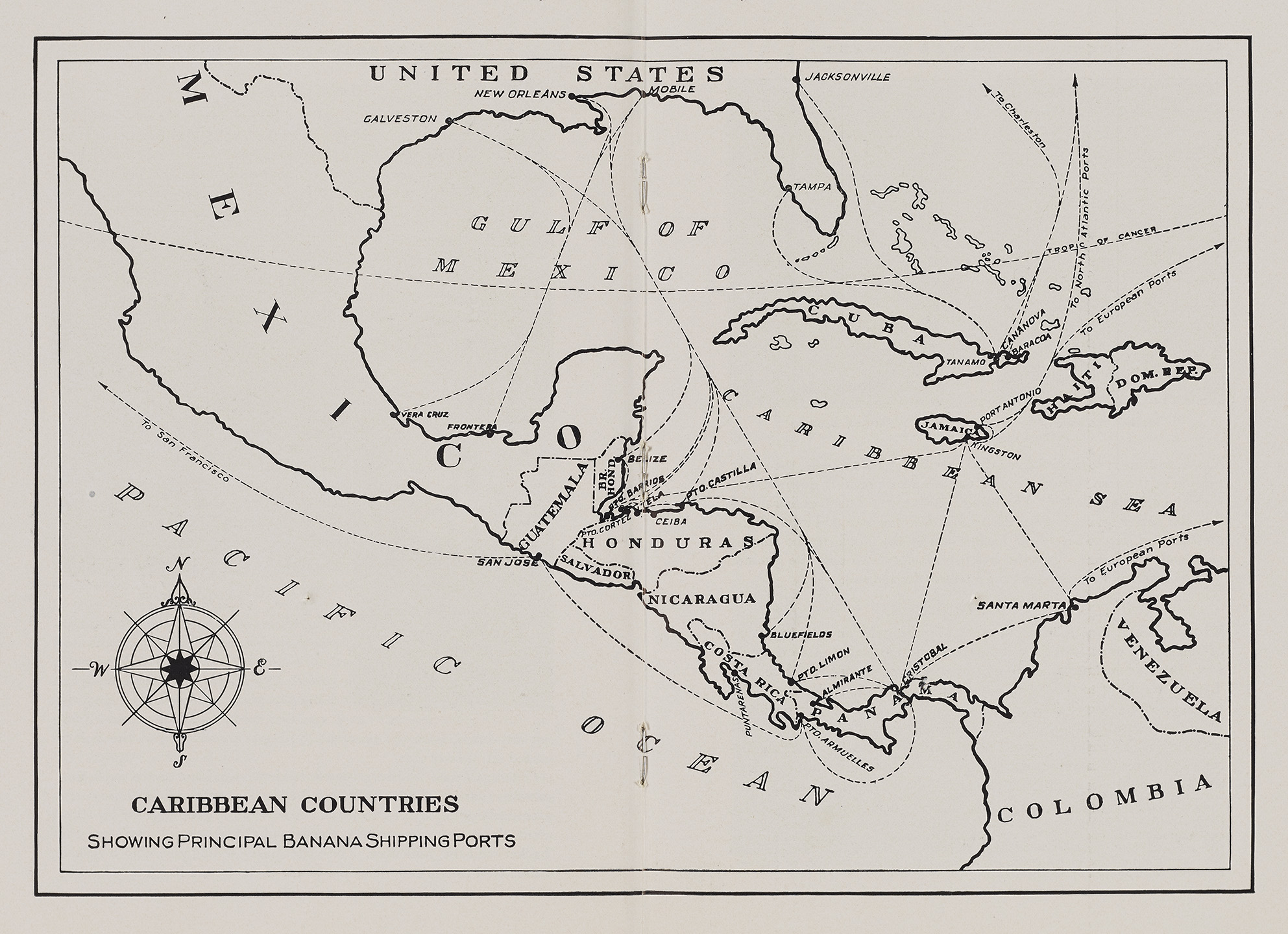 Map of banana trade routes, ca. 1940. WPA Federal Writers' Project collection, NYC Municipal Archives.