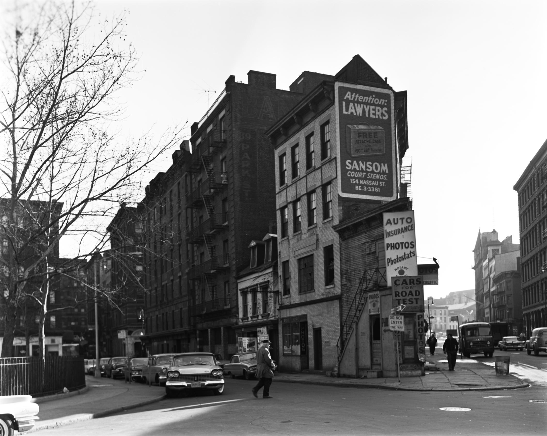 Park Row Extension, corner of Worth and Mosco Streets, January 1962. Photographer unknown. (The last remaining point of the Five Points, this block was absorbed into Columbus Park in 1964).