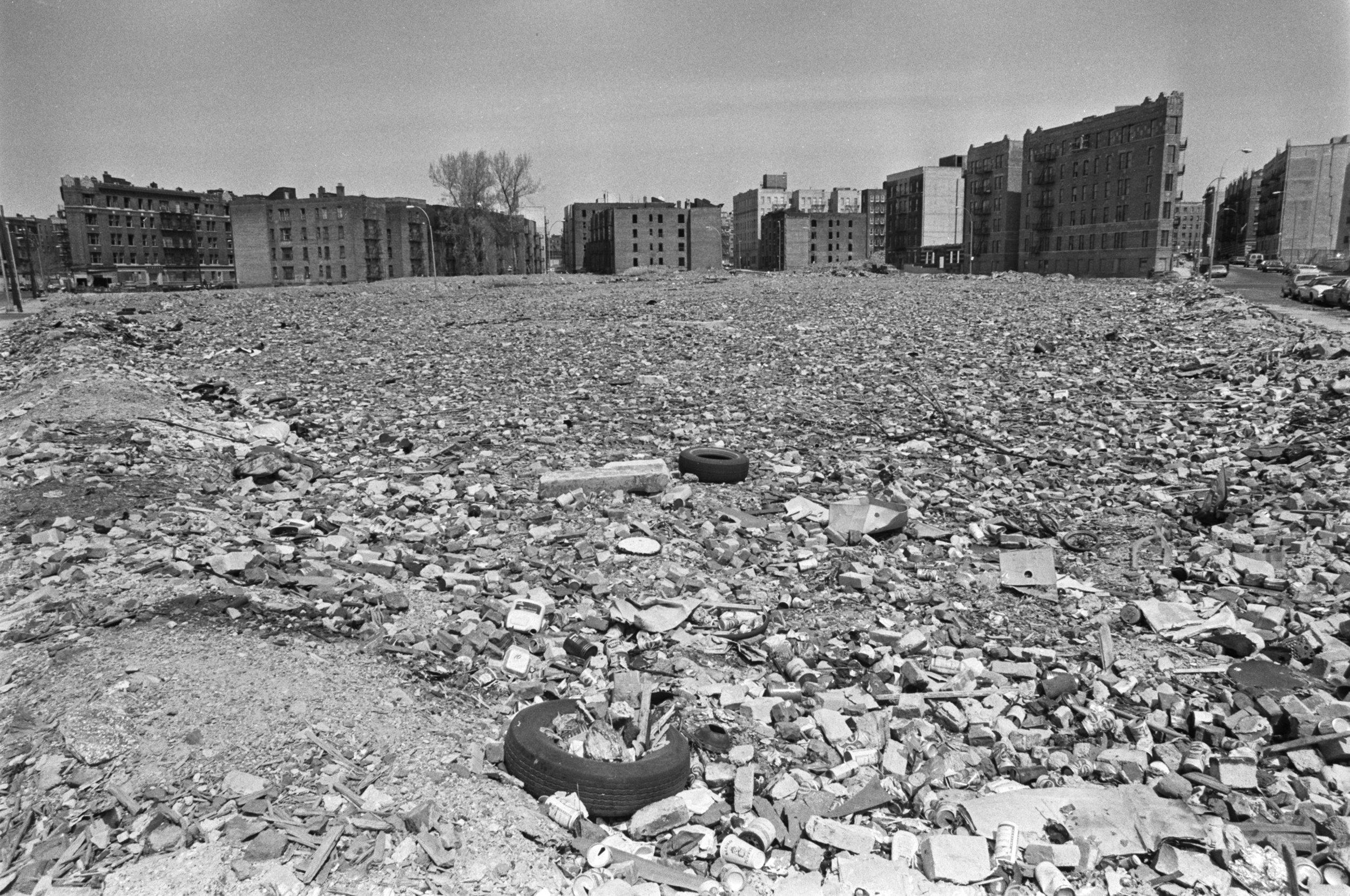Interim Park, Bronx. Vacant lot for future Interim Park site, April 1980. Photograph by Paul Rice.