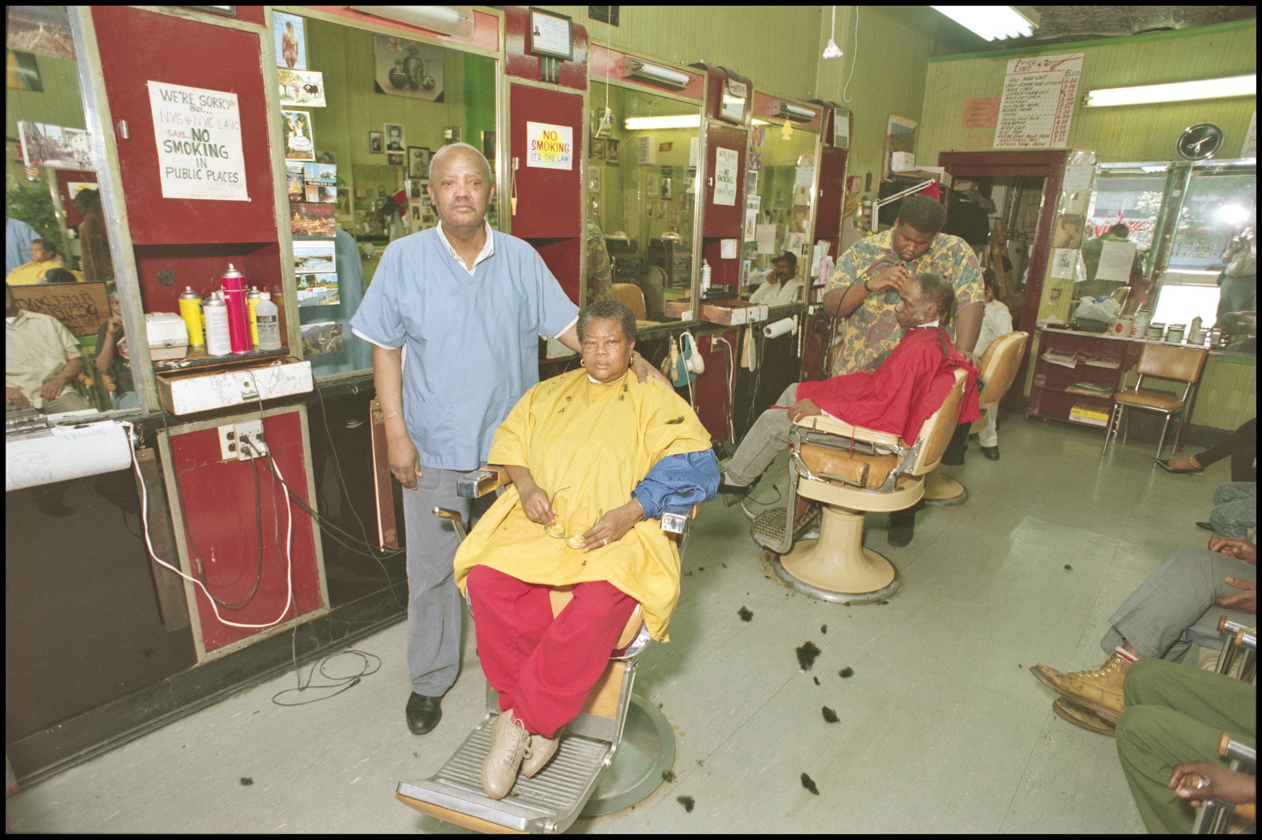 Barbershop, West 148th Street, June 1994. Photograph by Larry Racioppo.