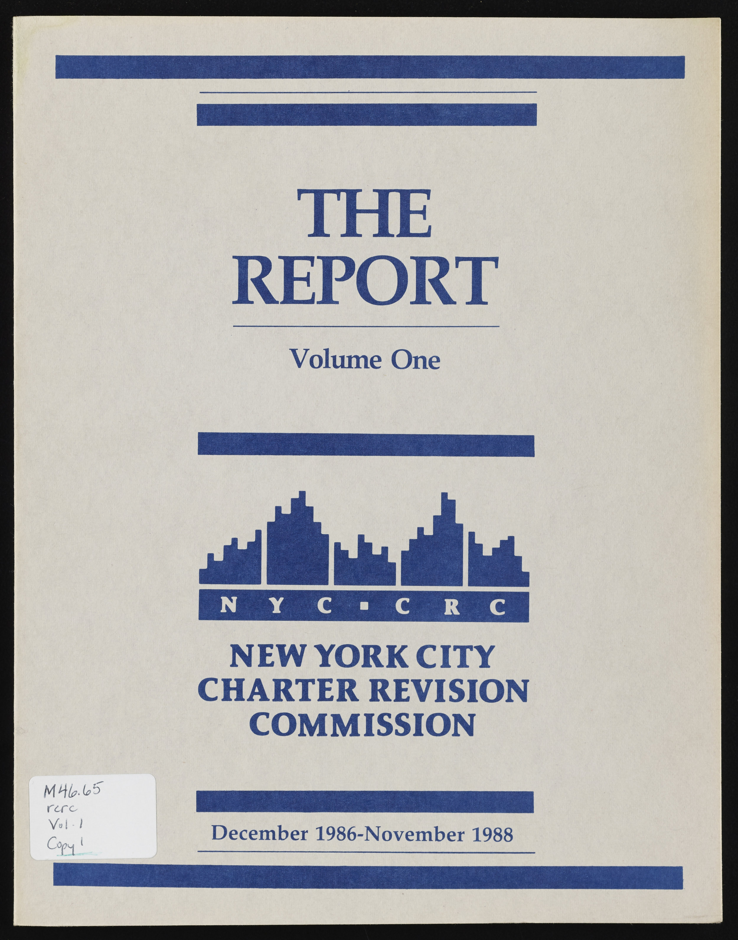 New York City Charter Revision Commission Report , 1988. NYC Municipal Library.