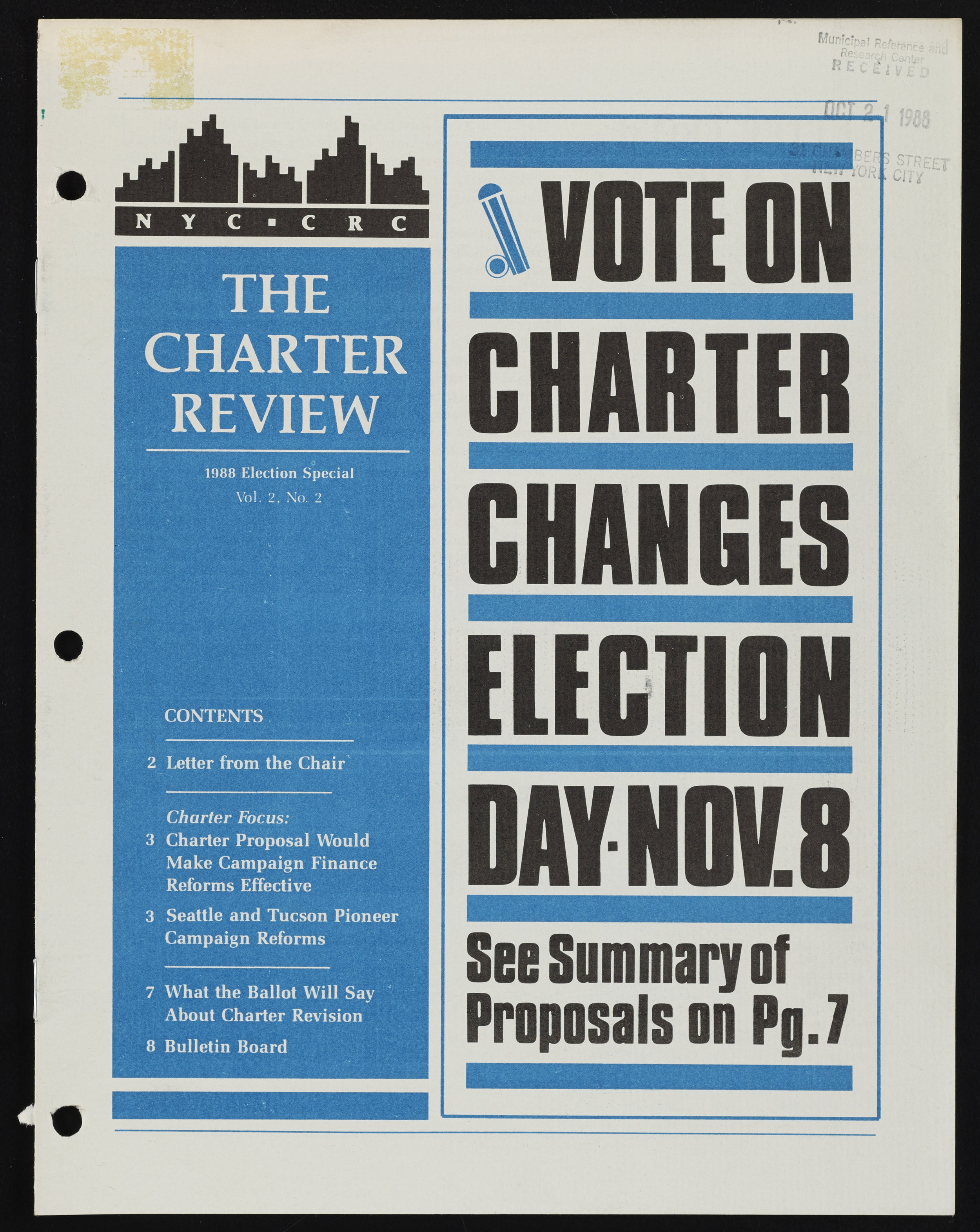 The Charter Review, 1988 Election Special, Vol 2, No. 2 . NYC Municipal Library.
