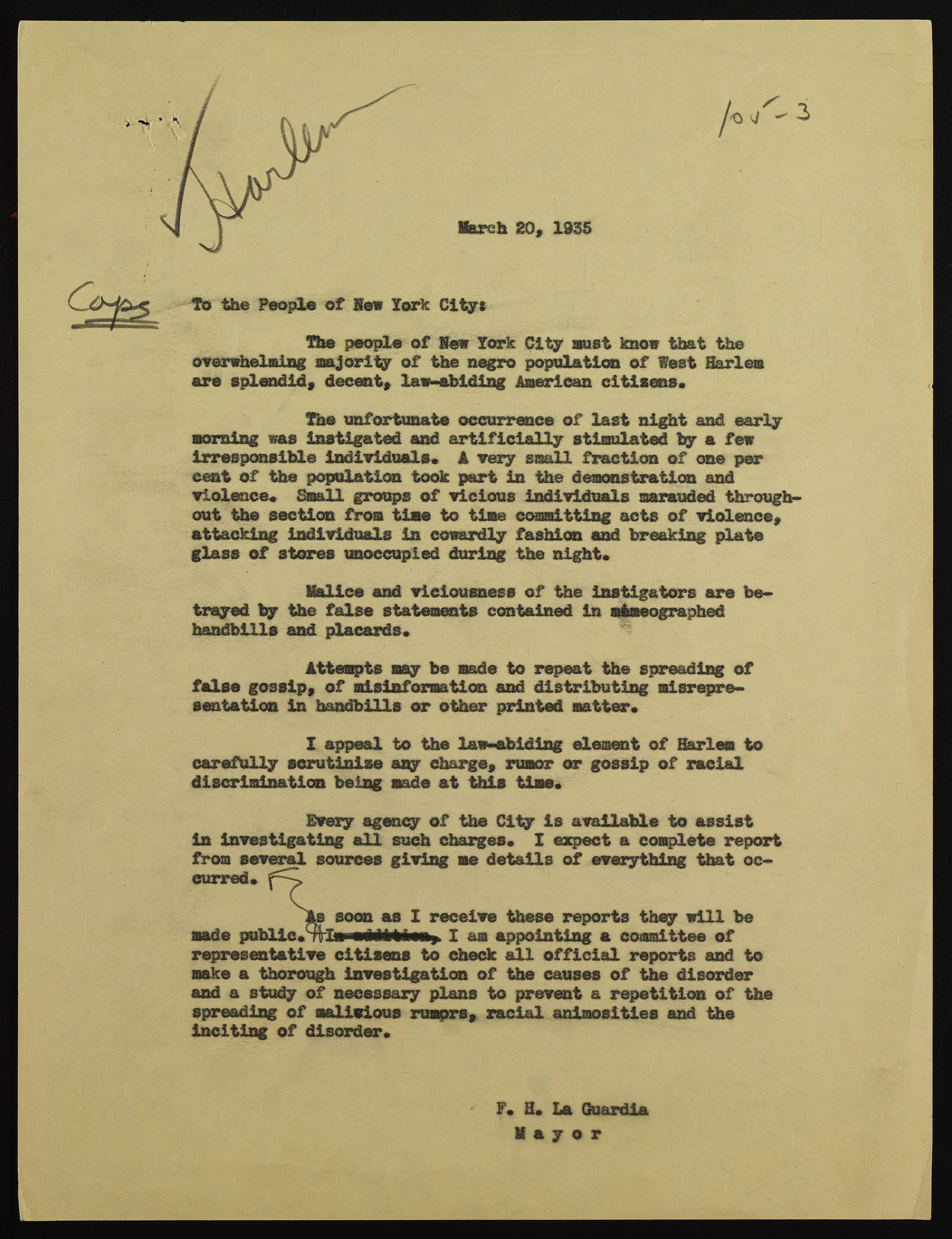"Mayor LaGuardia's appeal to ""the People of New York City"" the day after the 1935 Harlem Riot. Mayor LaGuardia Collection, NYC Municipal Archives."