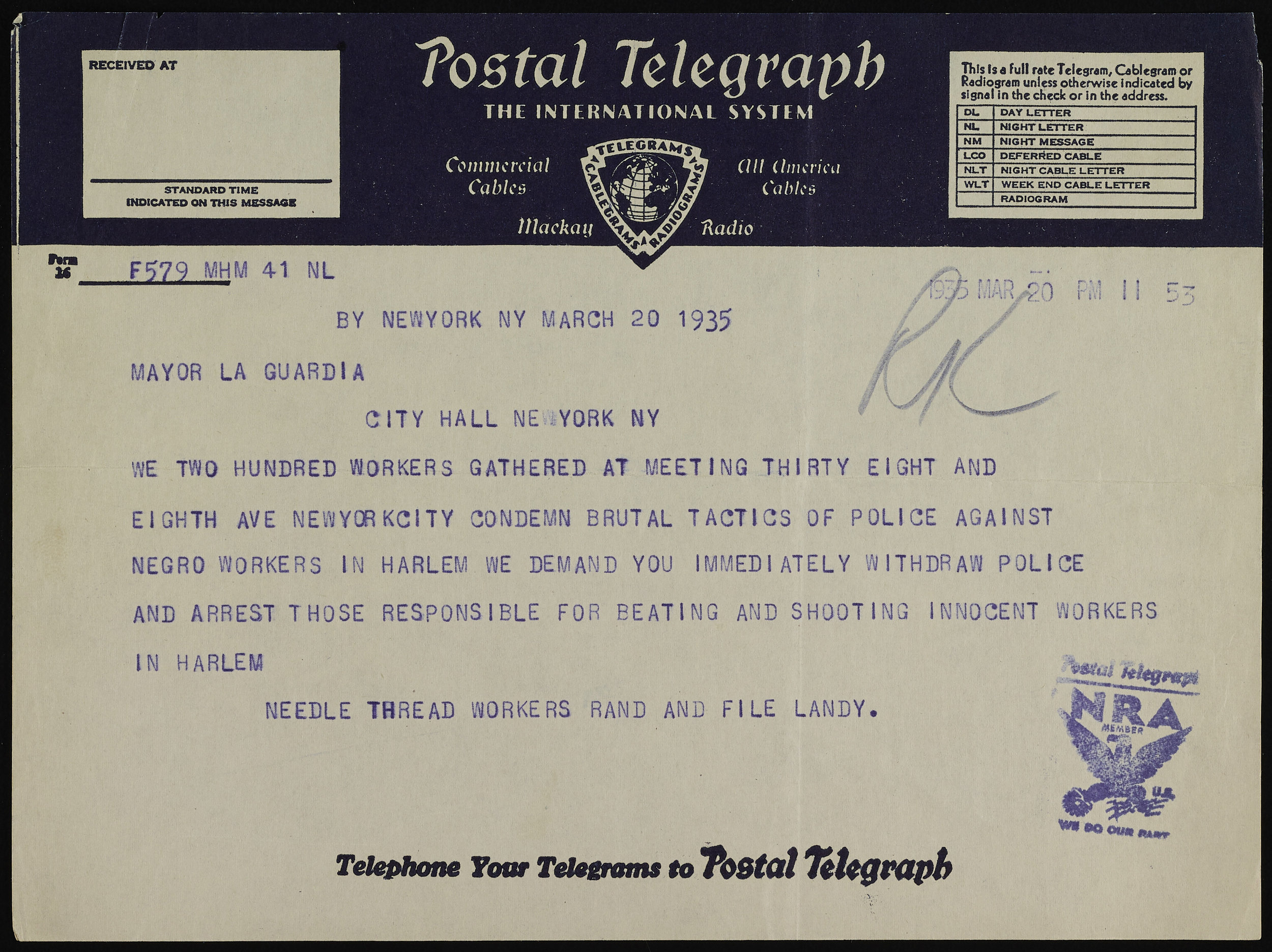 Telegram sent by protesters from the Needle Thread Workers. (The NRA stamp is for the Federal National Recovery Act, not the National Rifle Association.) Mayor LaGuardia Collection, NYC Municipal Archives.