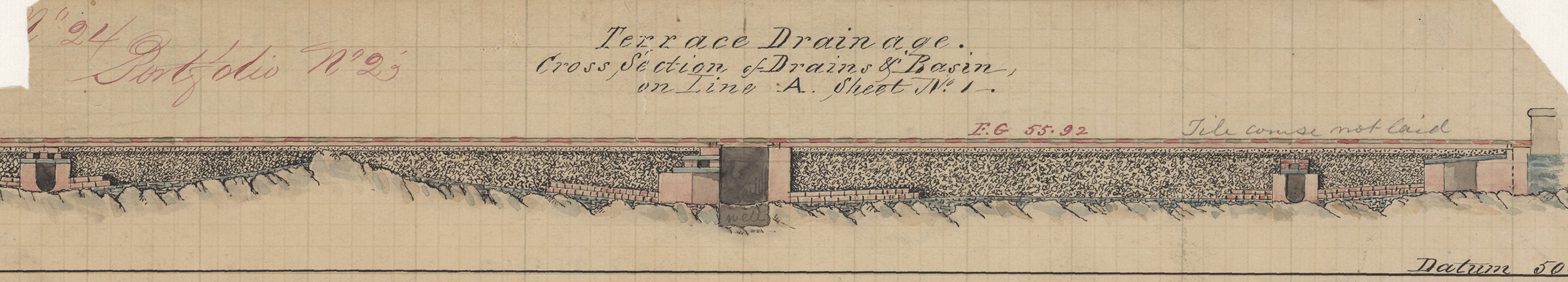 Plan of Terrace drainage, showing drains and basin, 1863. Black and red ink colored washes and pencil on graph paper, 16 x 13 inches