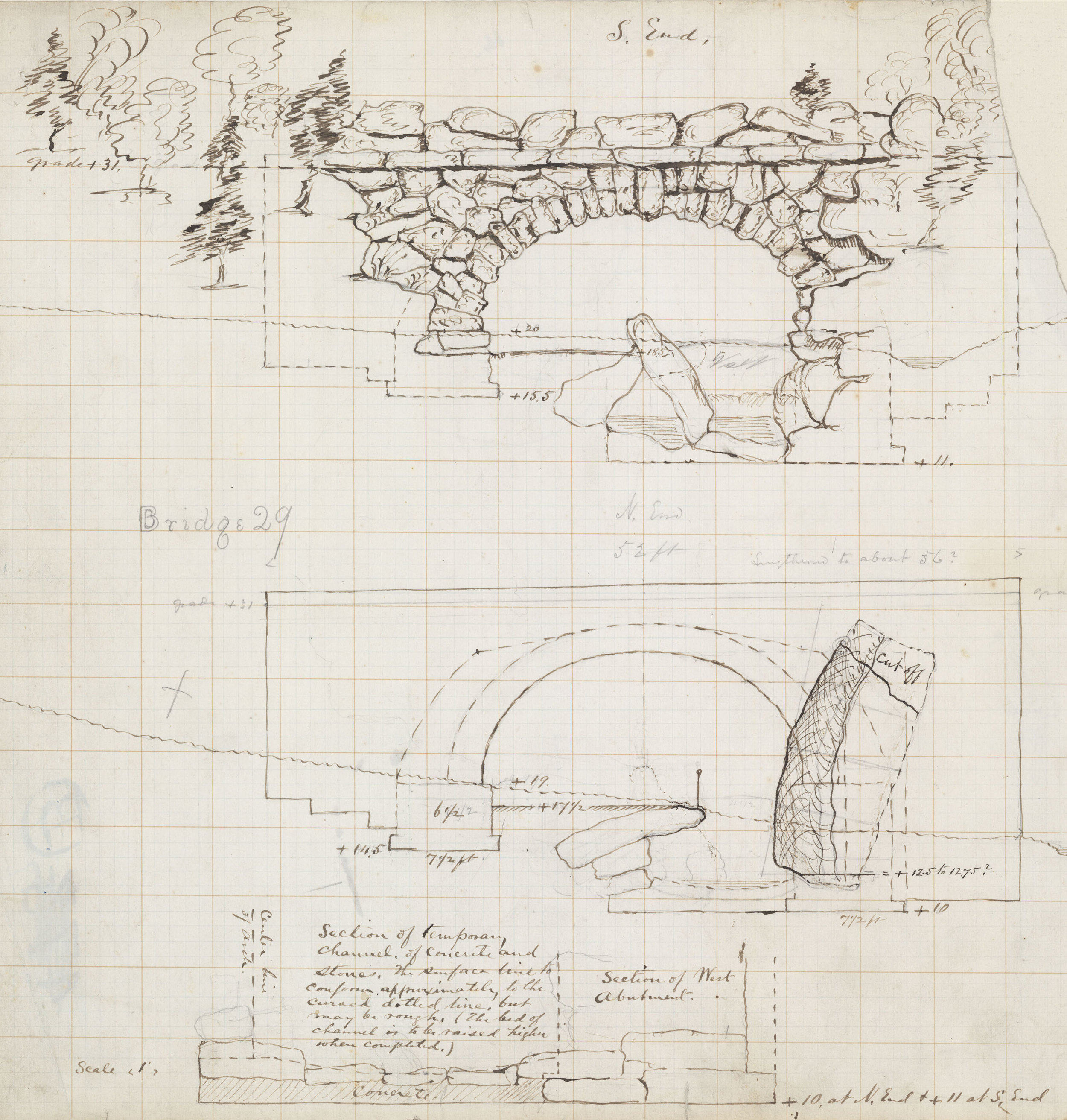 Huddlestone Arch, plan showing the southern elevation and a schematic sketch of the north side, 1864.  Black ink with pencil on graph paper, 13 ¼ x 16 ½ inches