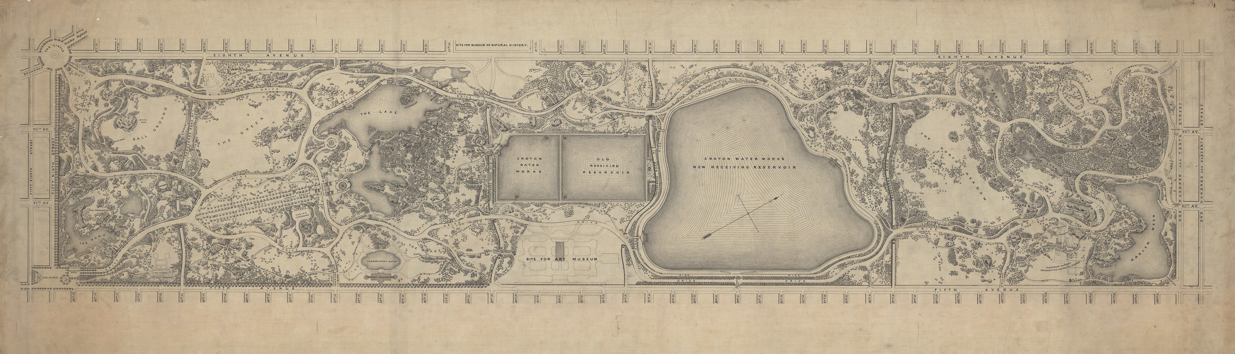 Map of Central Park, c. 1875. Black ink on linen, 24 x 74 inches.  This map shows work both planned and completed as of the mid-1870s. It includes Drives, Rides, Walks, bridges, named gates, and major structures as well as several building that were being planned at the time but were never completed.