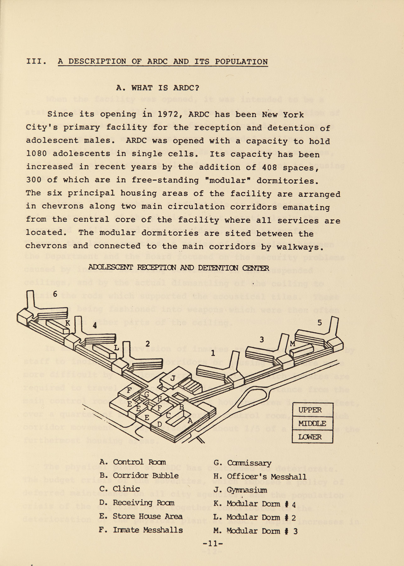 Adolescent Reception and Detention Center plan from  A Study of Violence and its causes in the New York City Adolescent Reception and Detention Center.  NYC Municipal Library.
