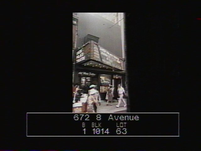 672 8th Avenue, Times Square, as it appears captured from the LVD screen. DOF Tax Photograph Collection, NYC Municipal Archives.