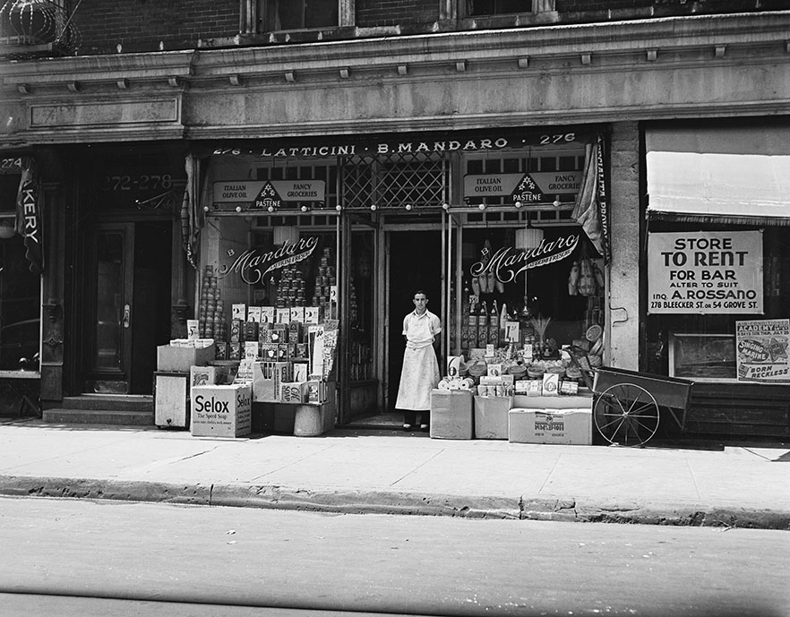 Latticini Cheese Shop, 276 Bleecker Street. Date: August 1937. Photographer: E.M. Bofinger. WPA-FWP Collection, neg. 499. NYC Municipal Archives