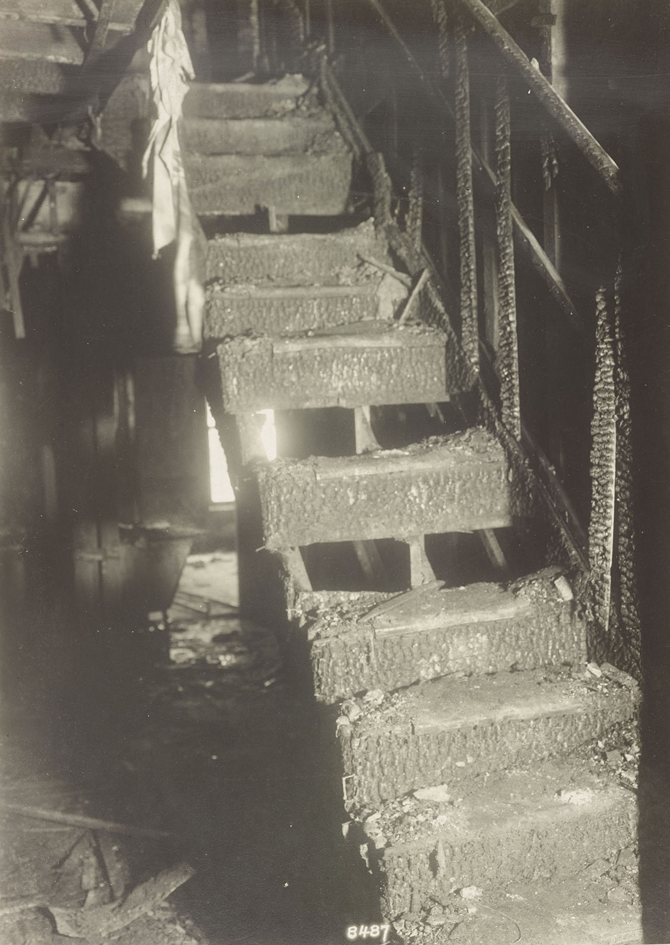 Wooden stairs of Old Law Tenement, destroyed by fatal fire, n.d. NYC Municipal Archives Collection.