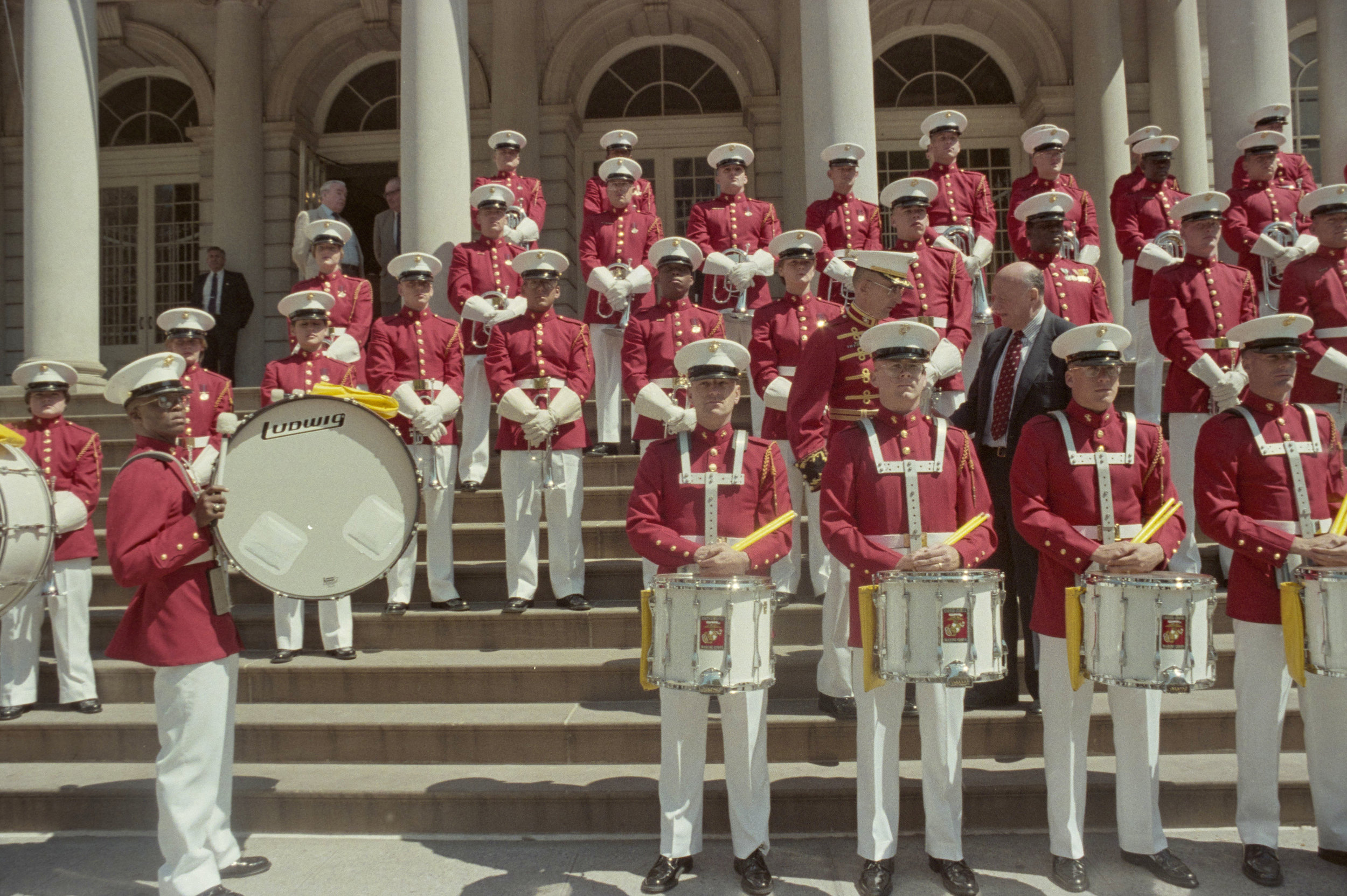 The United States Marine Corps band entertains guests at the inaugural Fleet Week welcoming ceremony on the Steps of City Hall, April 22, 1988, photographer Joan Vitale Strong. Mayor Edward I. Koch Collection, NYC Municipal Archives.
