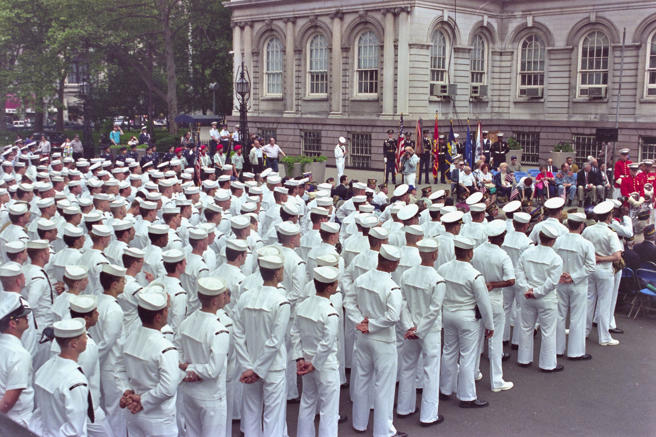 U.S. Navy sailors in formation, City Hall Plaza, May 25, 1995, photographer Joseph Reyes. Mayor Rudolph W. Giuliani Collection, NYC Municipal Archives.