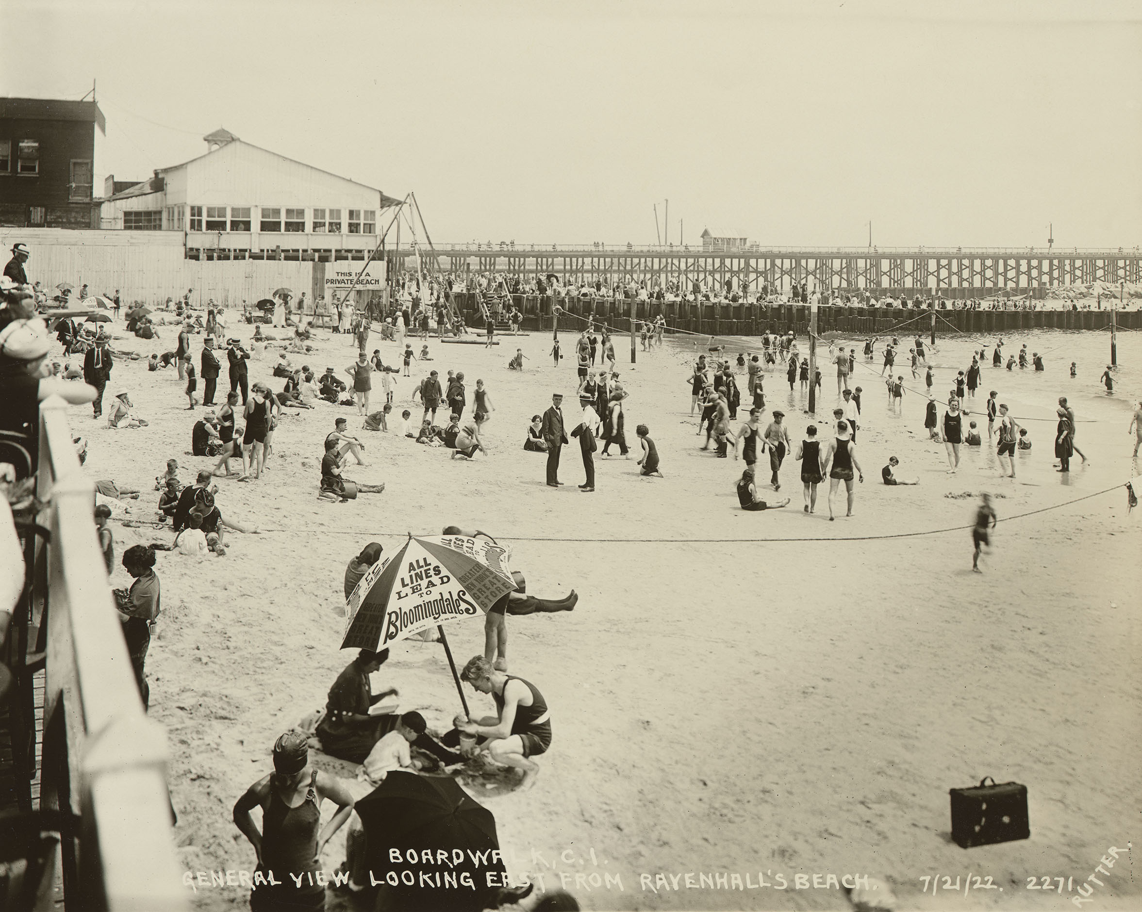 General view looking east from Ravenhall's Beach, July 21, 1922. Photo by E.E. Rutter, Borough President Brooklyn Collection, NYC Municipal Archives.