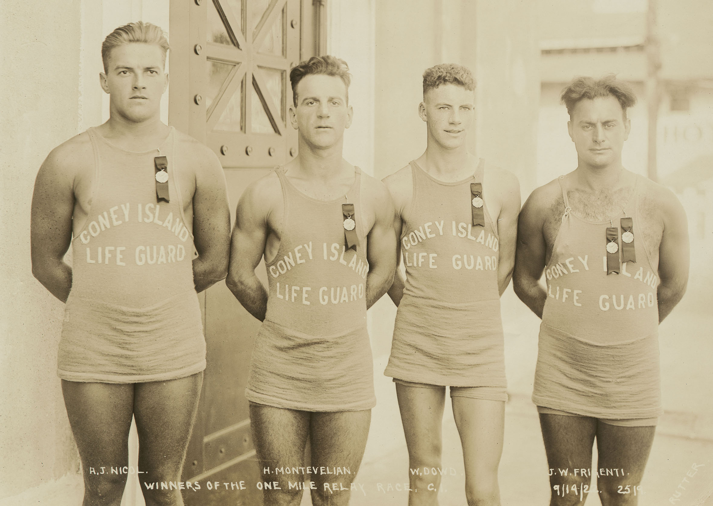 Coney Island Lifeguards, September 19, 1922. Photo by E.E. Rutter, Borough President Brooklyn Collection, NYC Municipal Archives.