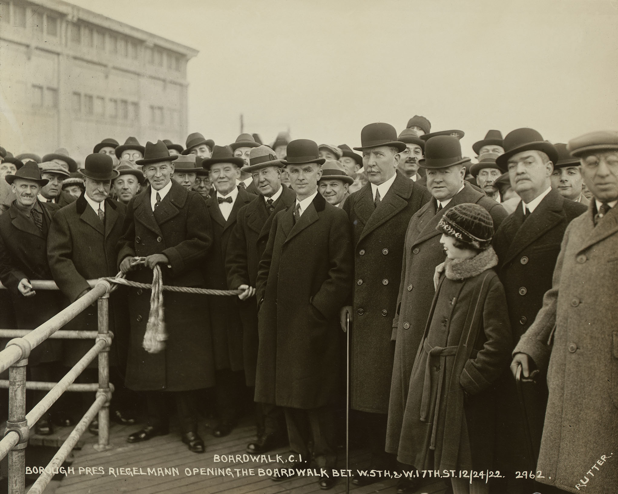 Boardwalk Coney Island, Borough President Riegelmann opening the Boardwalk, December 12, 1924. Photo by E.E. Rutter, Borough President Brooklyn Collection, NYC Municipal Archives.