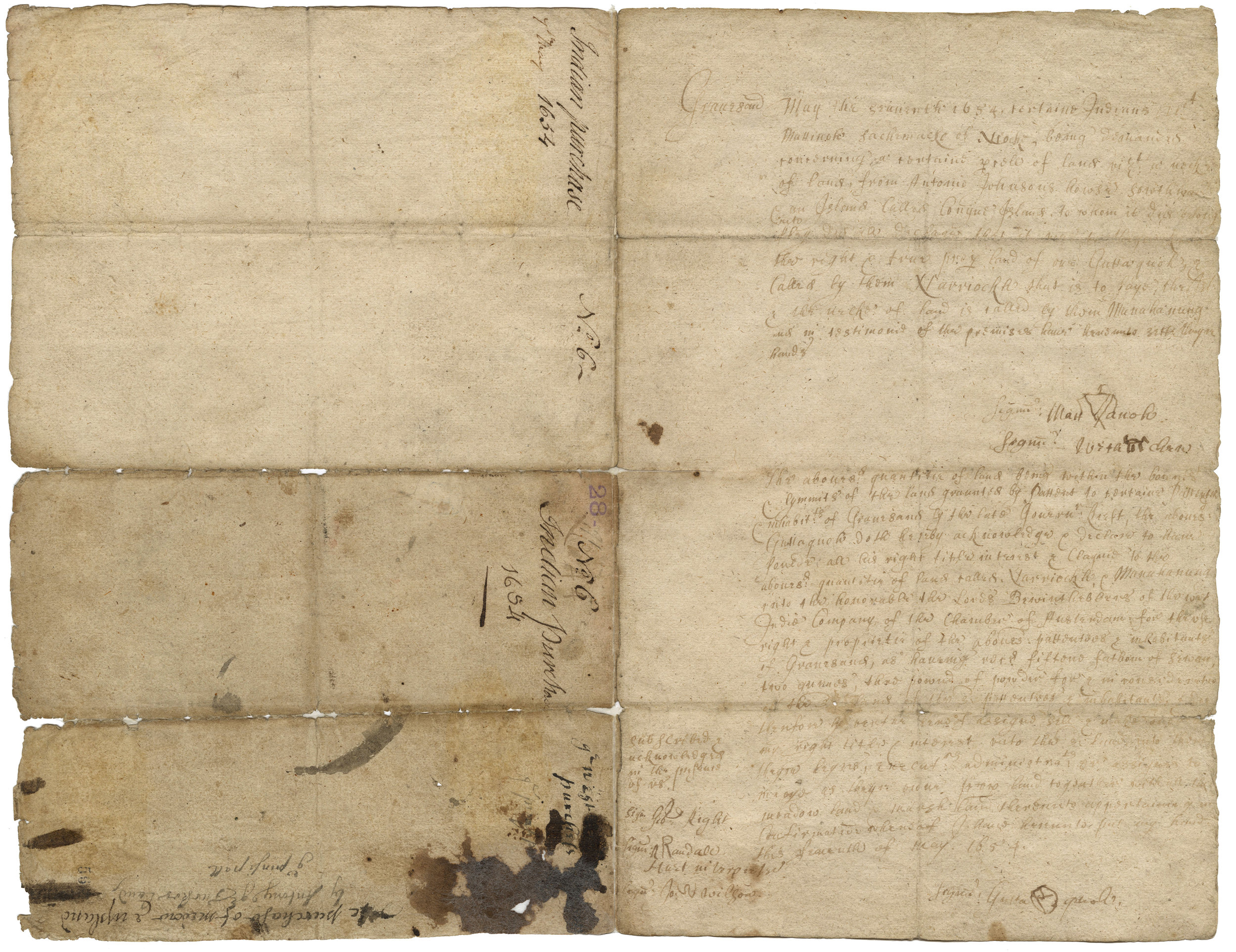 "Deed for the purchase of the land called ""Conyne Island"" from Guttaquah and other leaders, May 1654. New York City Municipal Archives."