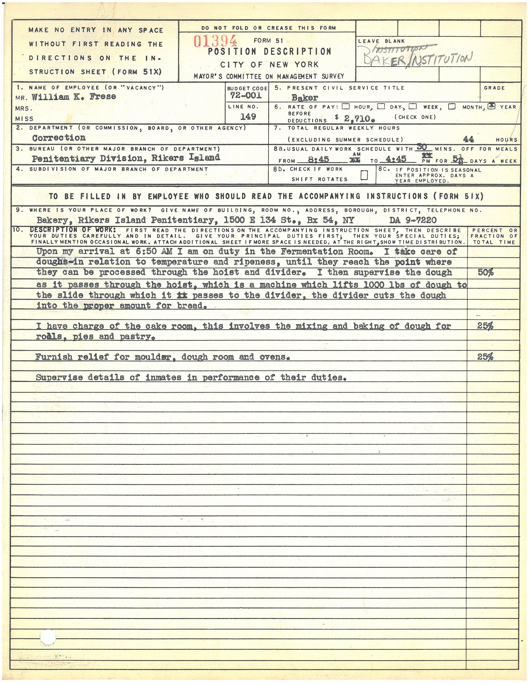 Form 51: William K. Frese, Baker, Rikers Island. Mayor's Committee on Management Survey, circa 1950. NYC Municipal Archives.