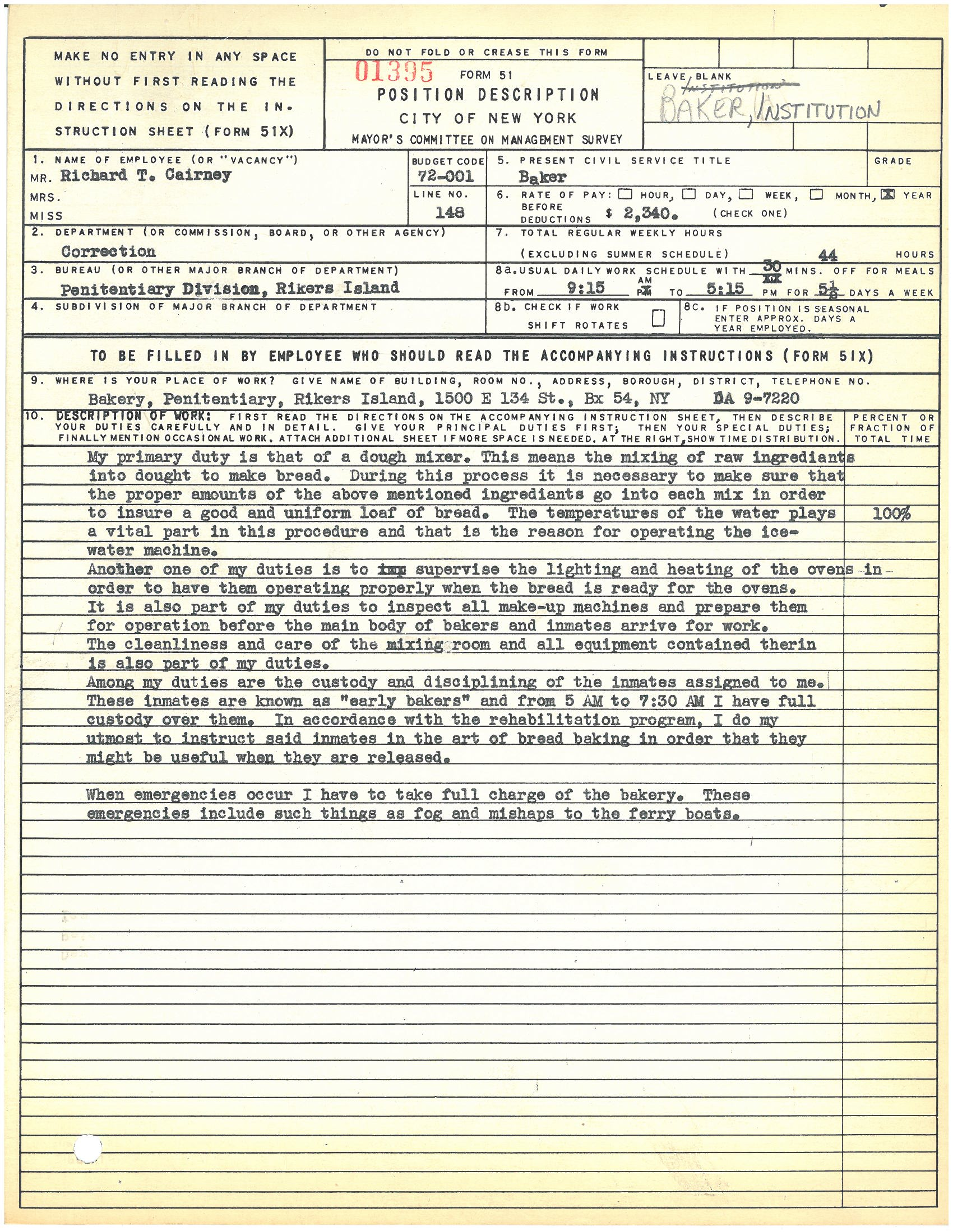 Form 51: Richard T. Cairney, Baker, Rikers Island. Mayor's Committee on Management Survey, circa 1950. NYC Municipal Archives.