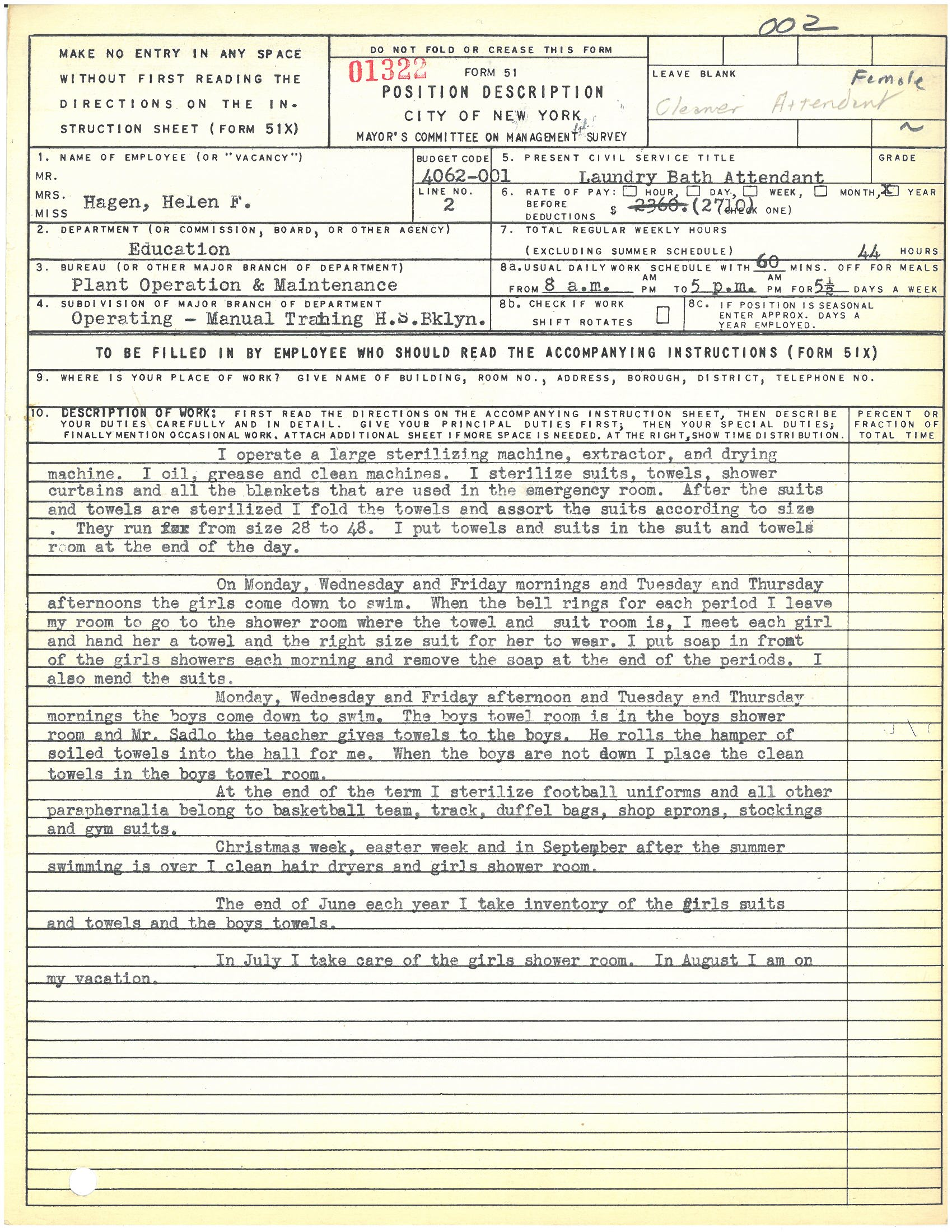 Form 51: Helen F. Hagen, Laundry Bath Attendant, Manual Training High School, Brooklyn. Mayor's Committee on Management Survey, circa 1950. NYC Municipal Archives.