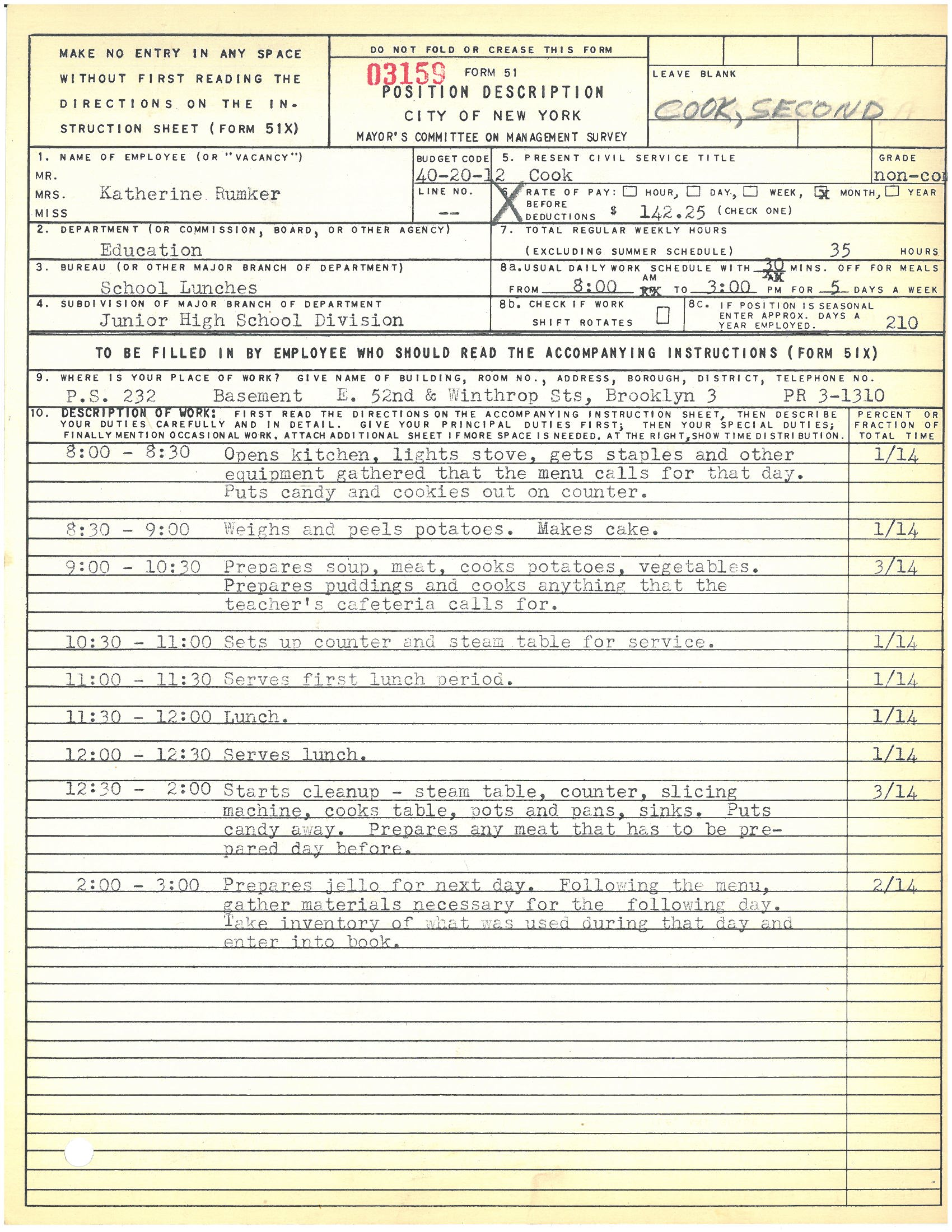 Form 51: Katherine Rumker, Cook, PS 232, Brooklyn. Mayor's Committee on Management Survey, circa 1950. NYC Municipal Archives.