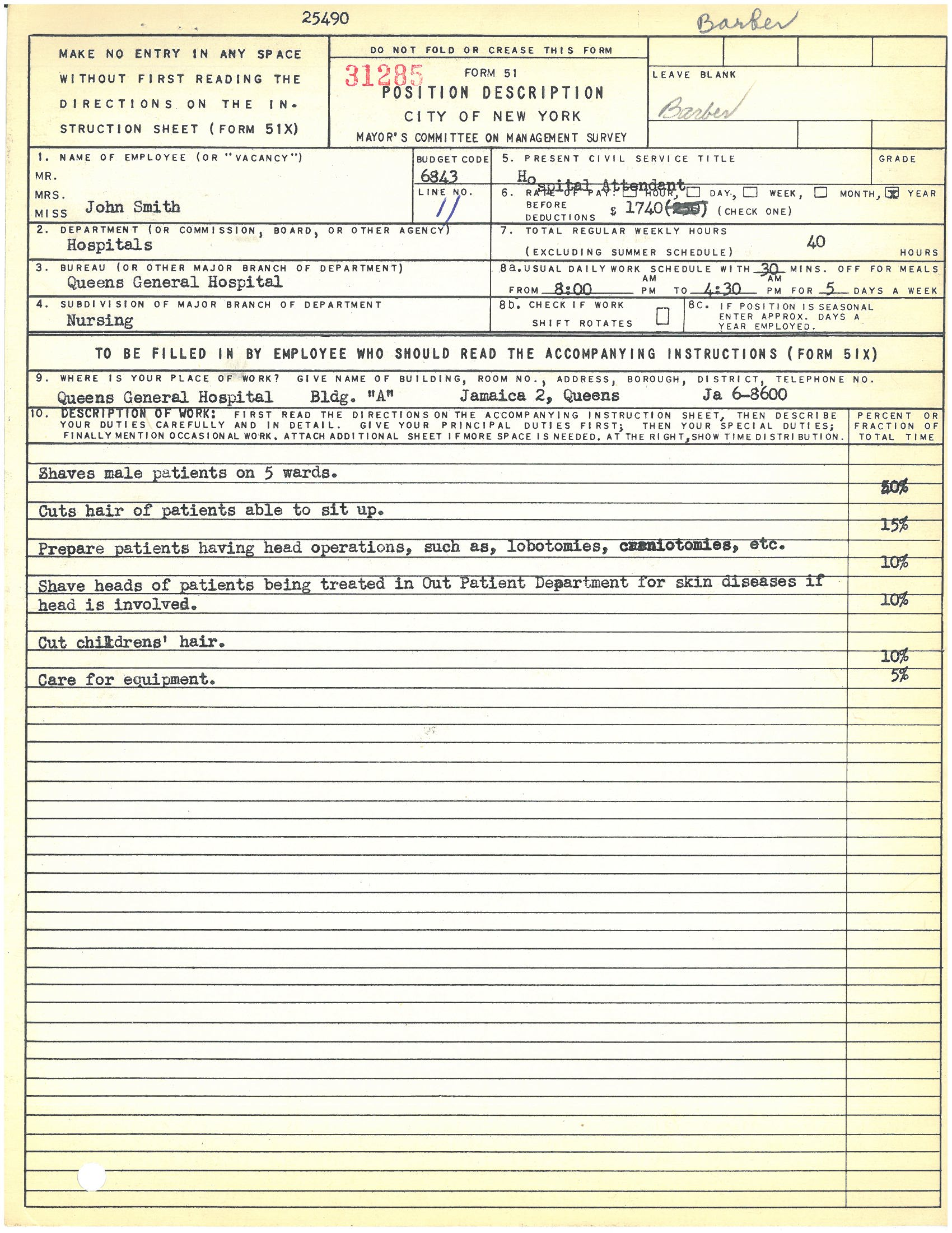 Form 51: John Smith, Barber, Queens General Hospital. Mayor's Committee on Management Survey, circa 1950. NYC Municipal Archives.