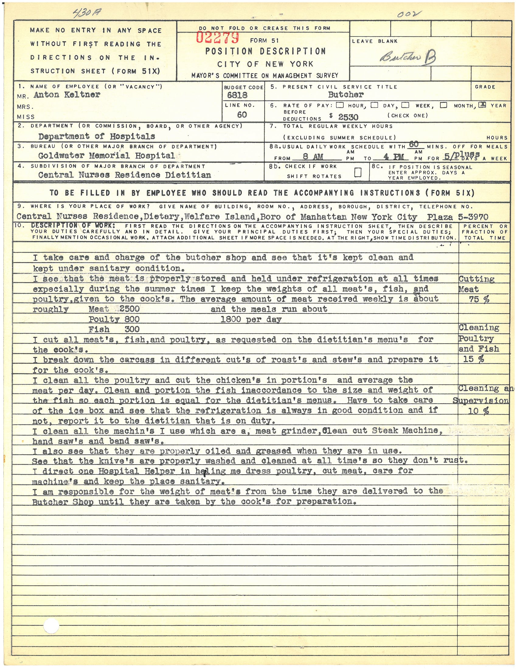 Form 51: Anton Keltner, Butcher, Goldwater Memorial Hospital. Mayor's Committee on Management Survey, circa 1950. NYC Municipal Archives.