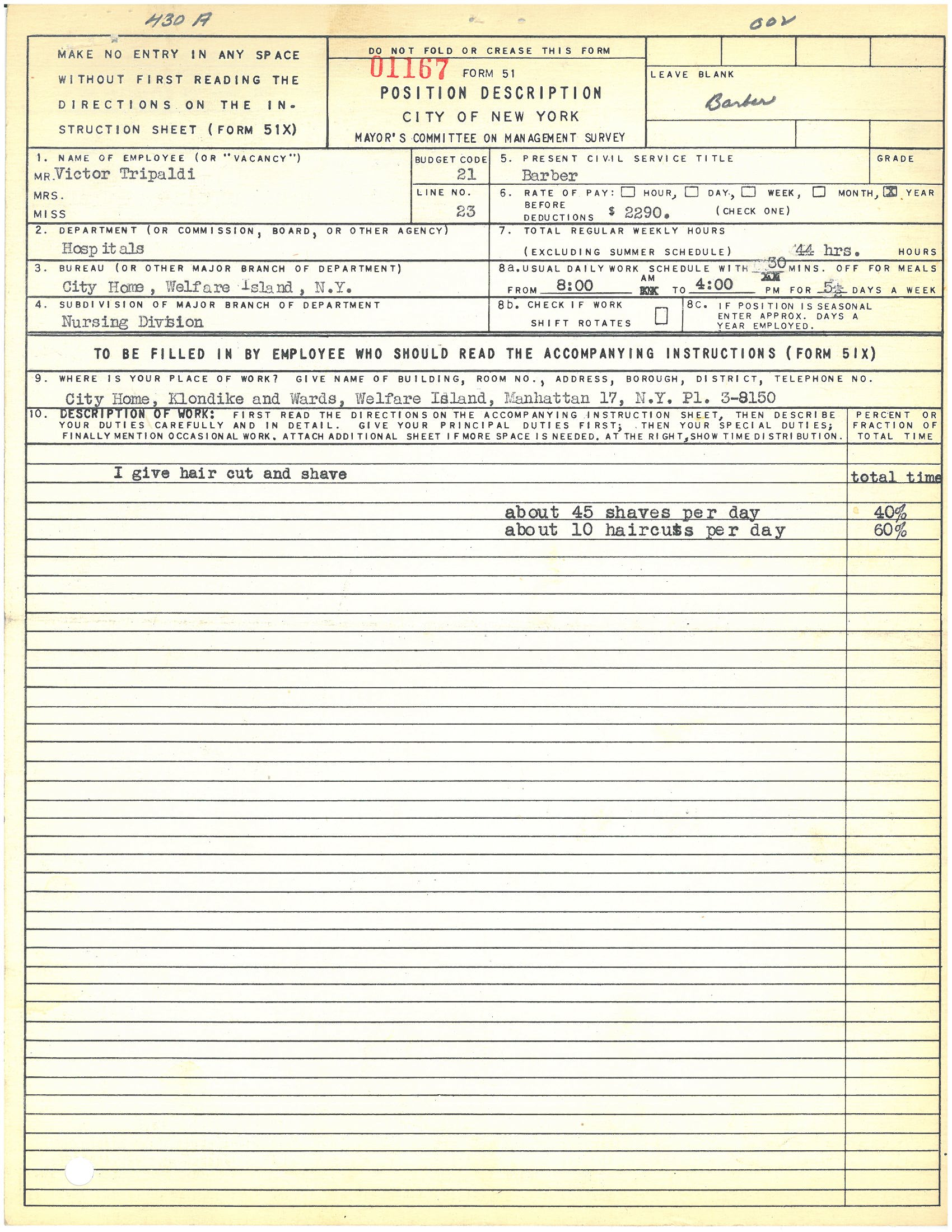 Form 51: Victor Tripoli, Barber, City Home, Welfare Island. Mayor's Committee on Management Survey, circa 1950. NYC Municipal Archives.