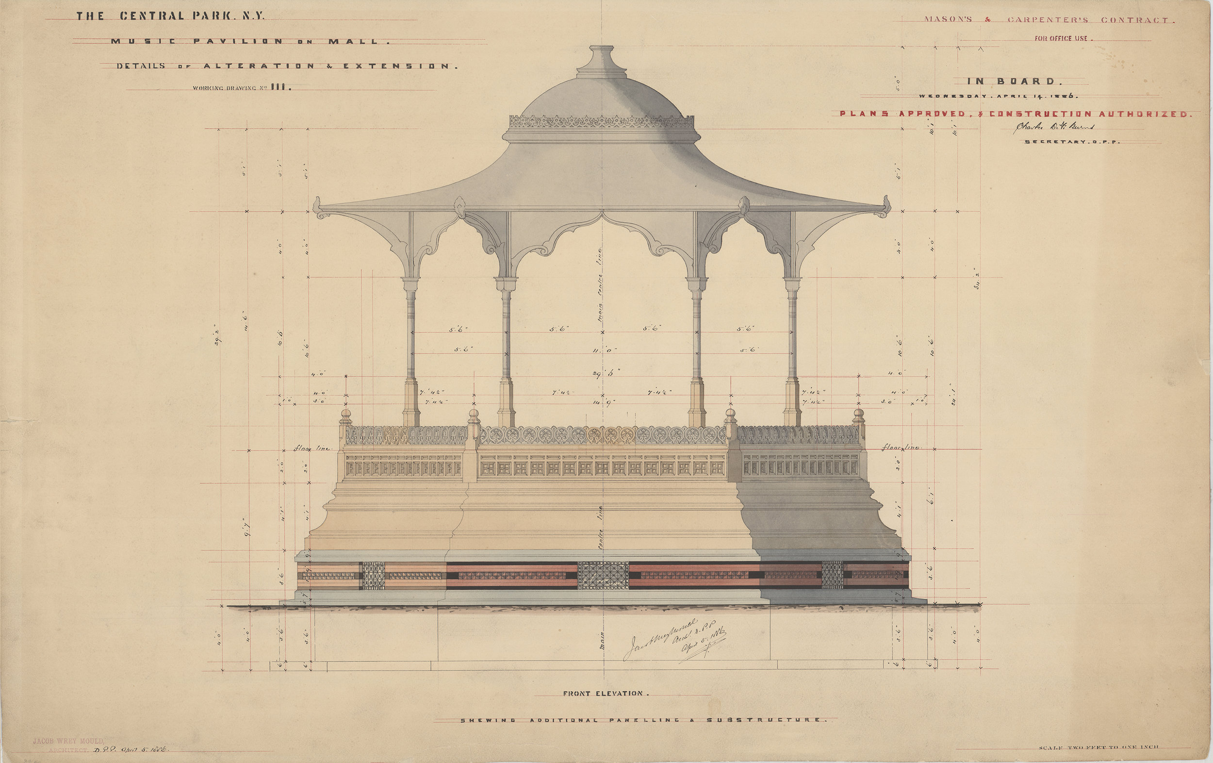 "Alterations to Music Pavilion, mason's and carpenter's contract, 1886. Black and colored inks with colored washes on paper backed with linen, 23¾ x 34¾"". Department of Parks Collection, NYC Municipal Archives.  The vividly colored Music Pavilion was originally constructed in 1862 and was moved to several different locations on the Mall during its lifetime. Jacob Wrey Mould prepared this drawing for alterations to the structure in 1886."