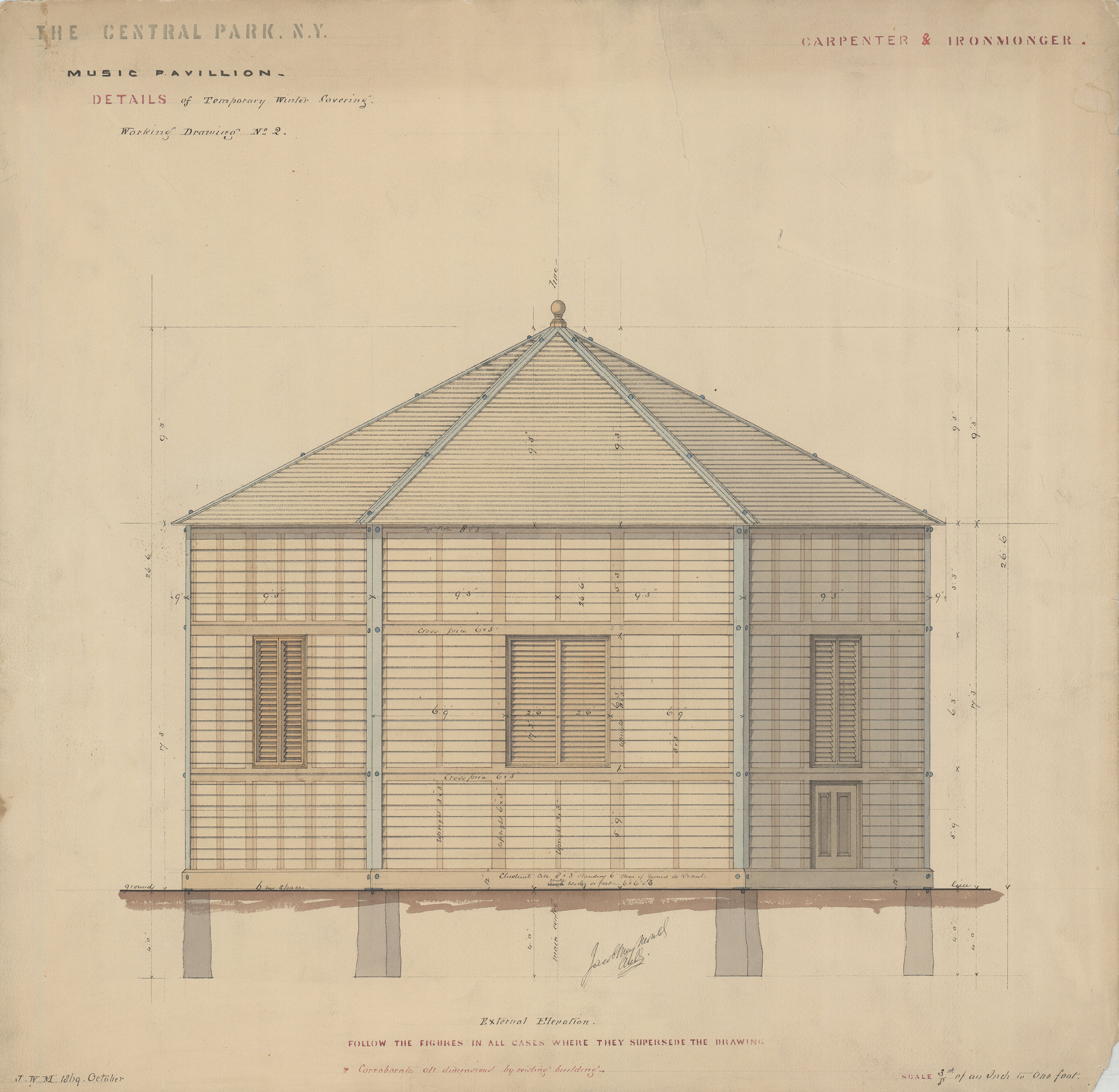 "Temporary winter covering for the Music Pavilion, carpenter's and ironmonger's contract, 1869. Black ink with colored washes on paper backed with linen, 19½ x 21"". Department of Parks Collection, NYC Municipal Archives."