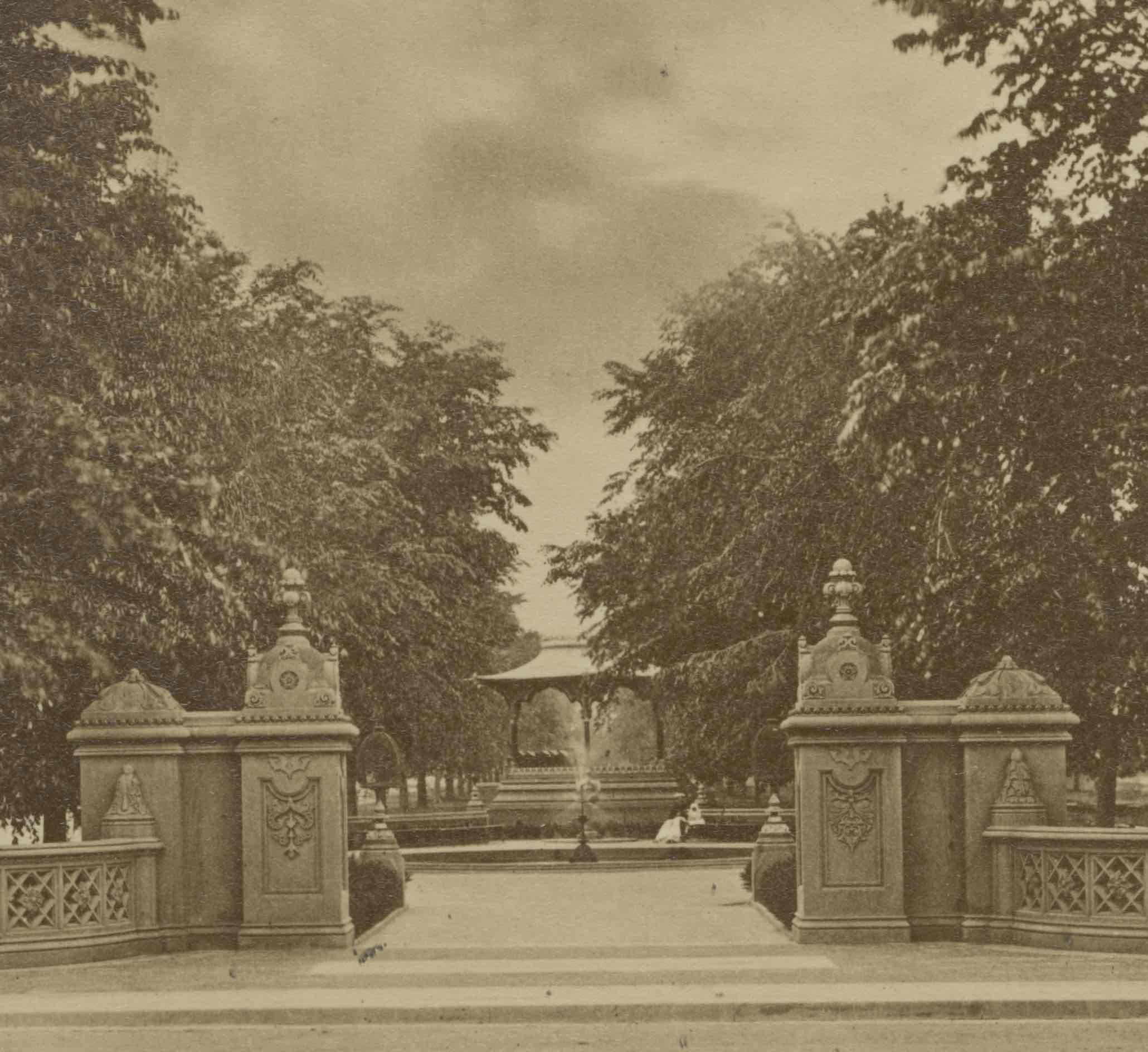 Here the Music Pavilion can be seen in its original location at the north end of the mall just behind a small decorative fountain that lead toward to the Terrace. The Pavilion would later be moved further the south and the fountain would be removed altogether. Department of Parks Collection, NYC Municipal Archives.