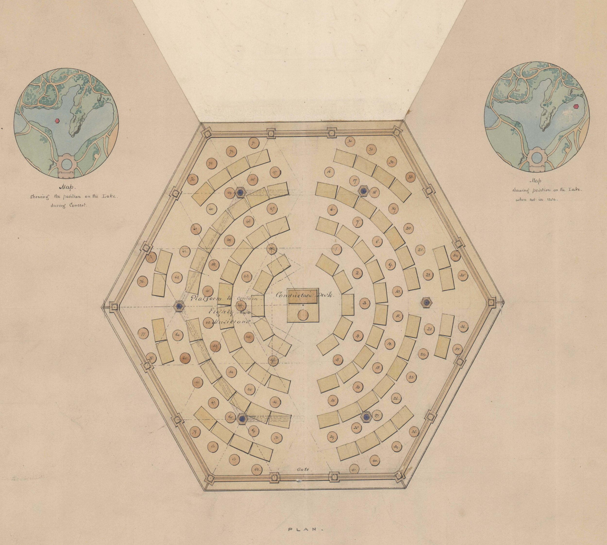 These detail maps show the pavilion's positions on the Lake during a concert and when not in use; the central panel lifts up to reveal a second seating arrangement for a larger orchestra.