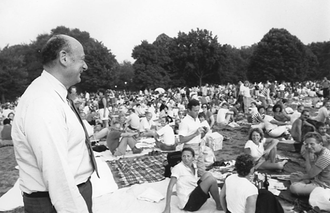 Mayor Edward Koch walking through the crowds while waiting for the start of the annual concert given by the New York Philharmonic in Central Park, August 8, 1983. Mayor Edward I. Koch Collection, NYC Municipal Archives.  The Philharmonic's concert in 1986 had an estimated attendance of 800,000 people, one of the largest gatherings for a musical event in the history of the park.