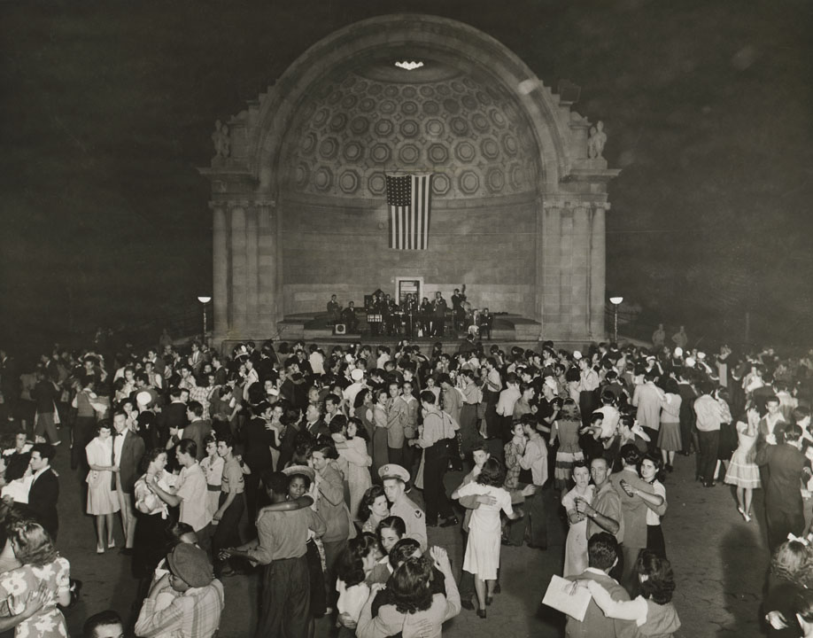 Harvest dance contest at Naumburg Bandshell, September 1942. NYC Municipal Archives Collection.  Music remained a popular attraction in the park even after the removal of Mould's Music Pavilion. The Naumburg Bandshell, designed by William Tachau, replaced it in 1923 and is still in use today.