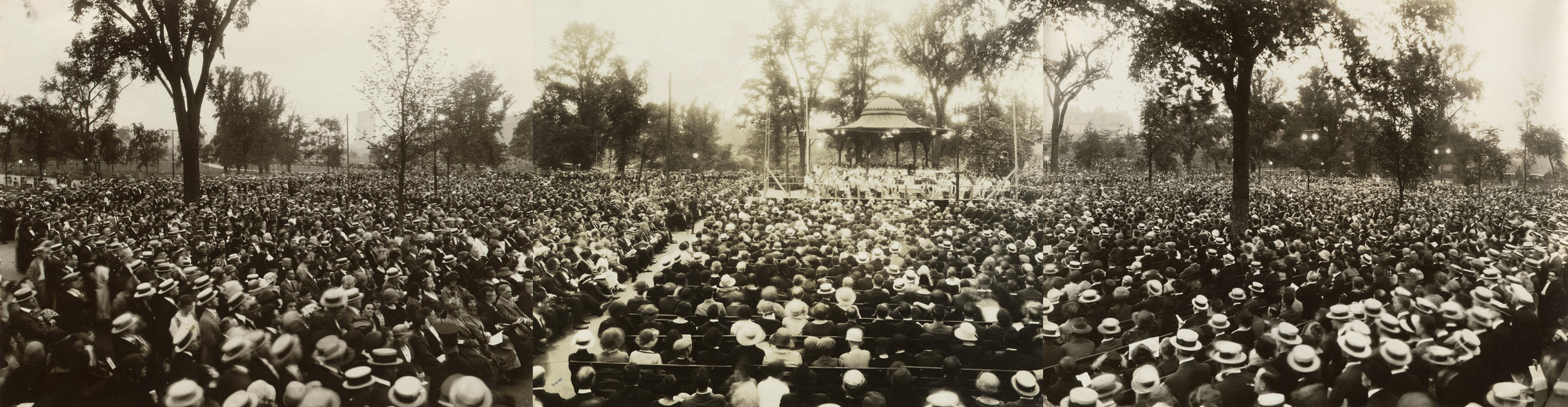 Large crowds gather to enjoy a concert in the park, c. 1910. The bench seating was designed by Calvert Vaux especially for concert-goers around the Music Pavilion. Photo by A. Tennyson Beals, NYC Municipal Archives Collection.