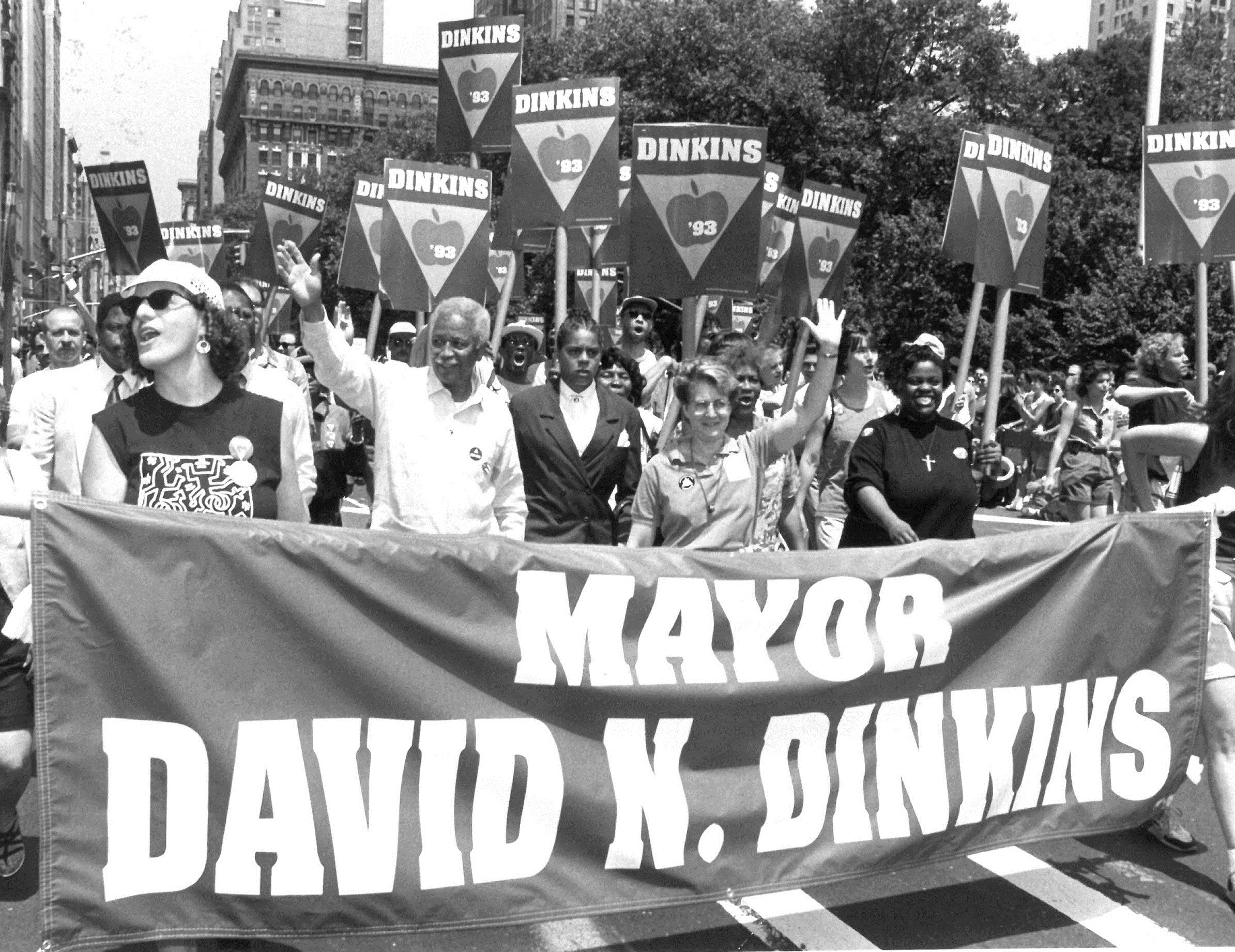 Mayor David Dinkins marched in the 1993 Gay Pride parade with Assembly Member Deborah Glick, the first openly gay state legislator elected in New York State. June 27, 1993. Photographer: Edward Reed. MAyor David N. Dinkins Collection, NYC Municipal Archives.