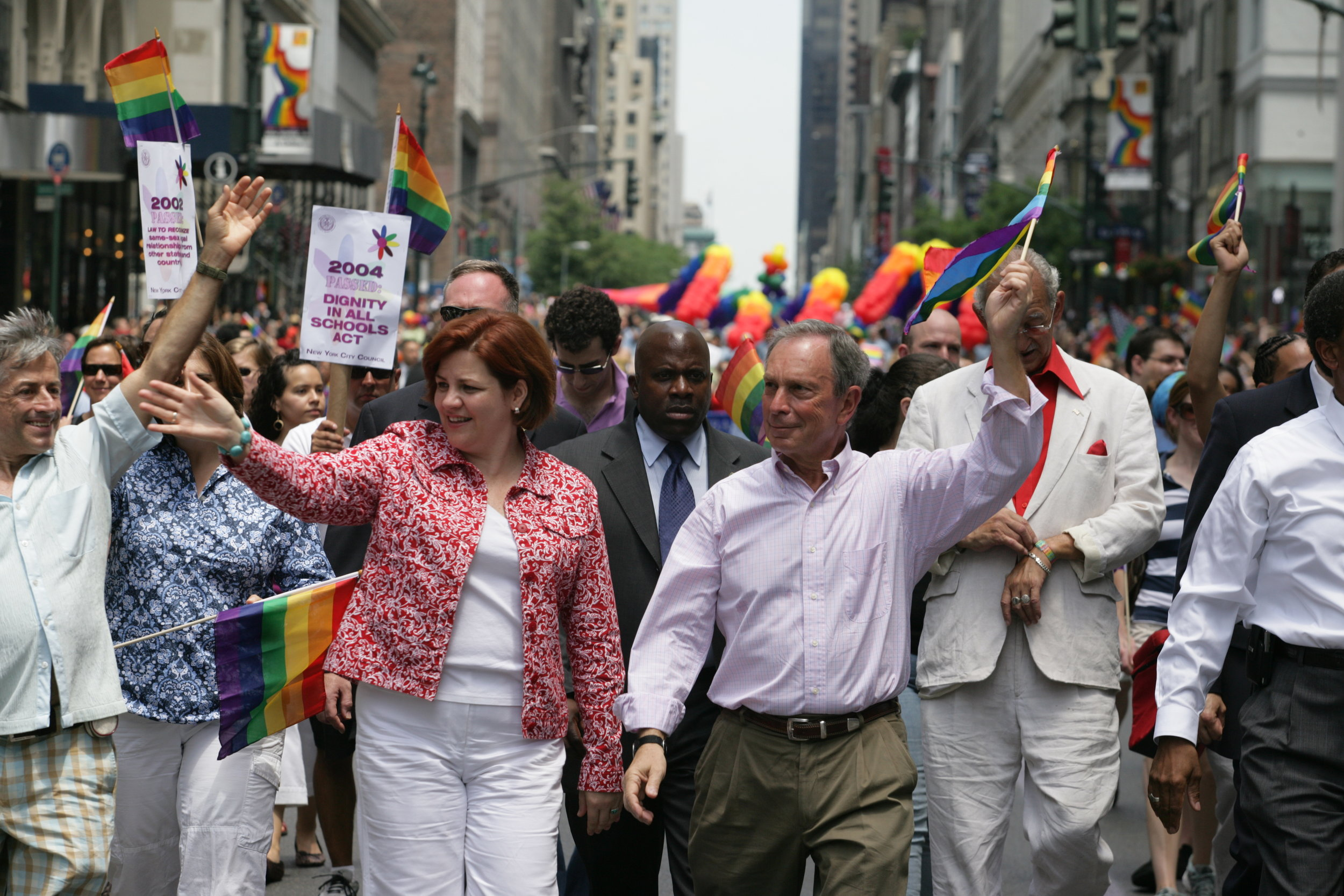 Mayor Bloomberg marched with City Council Speaker Christine Quinn in the 2008 Gay Pride parade. June 29, 2008. Mayor Michael R. Bloomberg Collection, NYC Municipal Archives.