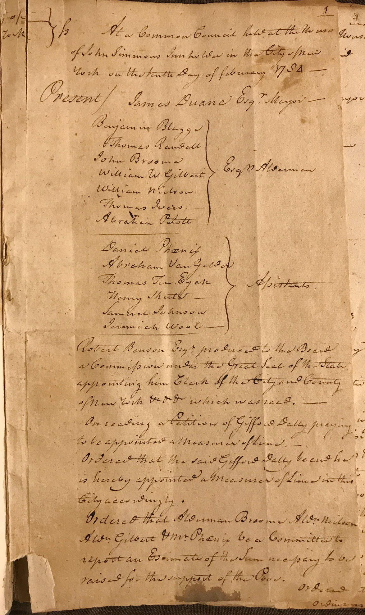 The first page of the post-war, post-colonial Common Council minutes, from February 10, 1784. Common Council Records, NYC Municipal Archives.
