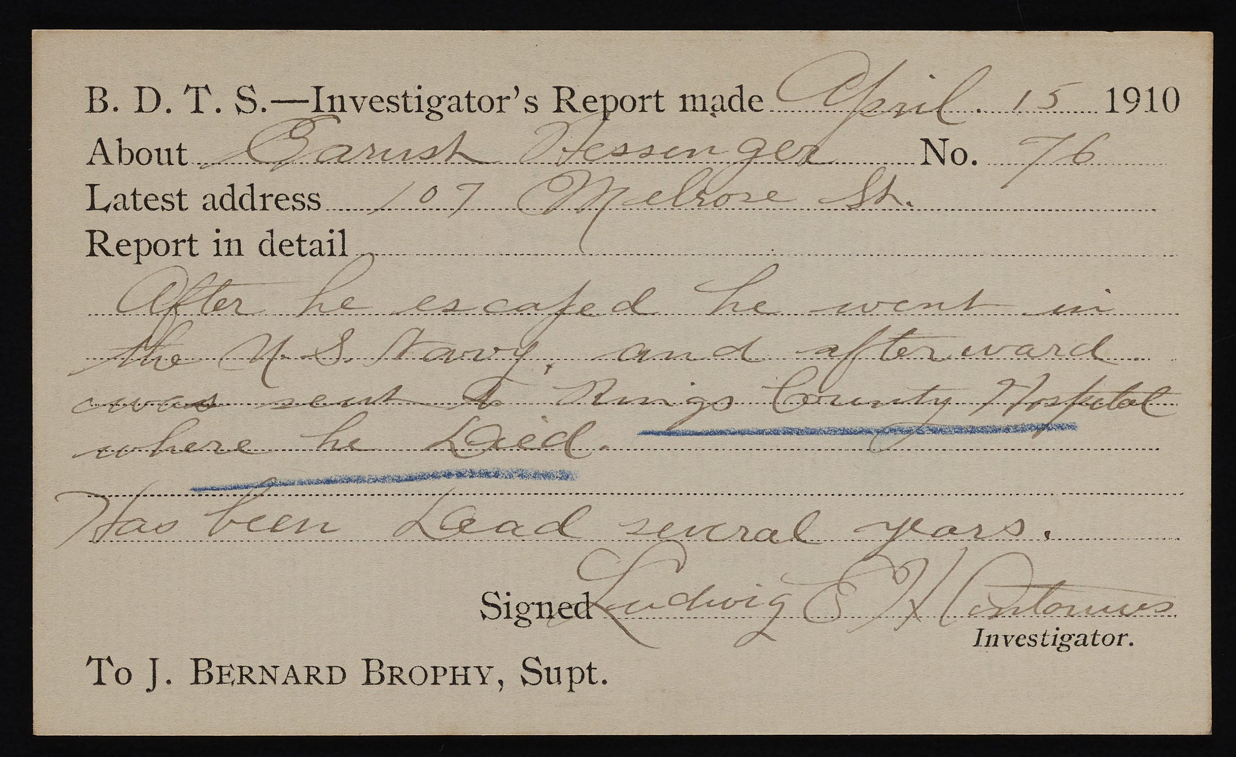 Investigator's Report, 1910. Records of the Brooklyn Disciplinary Training School for Boys, NYC Municipal Archives.