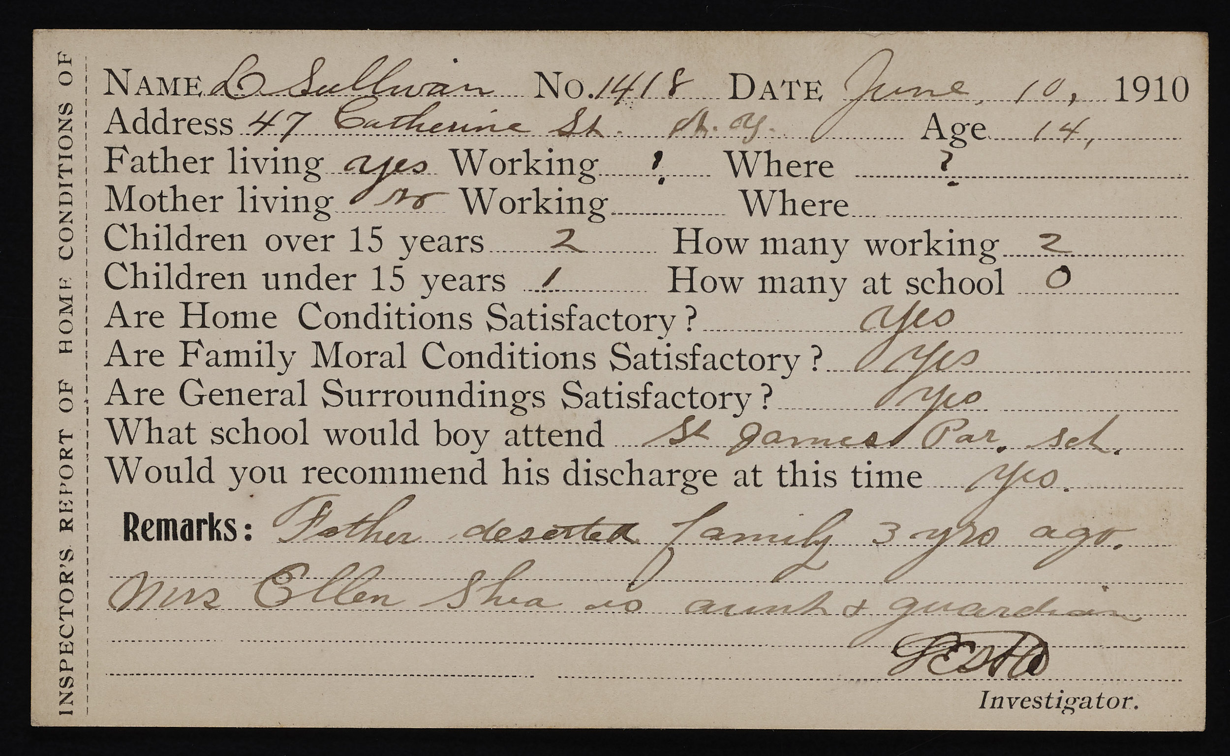Inspector's report of Home Conditions, 1910. Records of the Brooklyn Disciplinary Training School for Boys, NYC Municipal Archives.