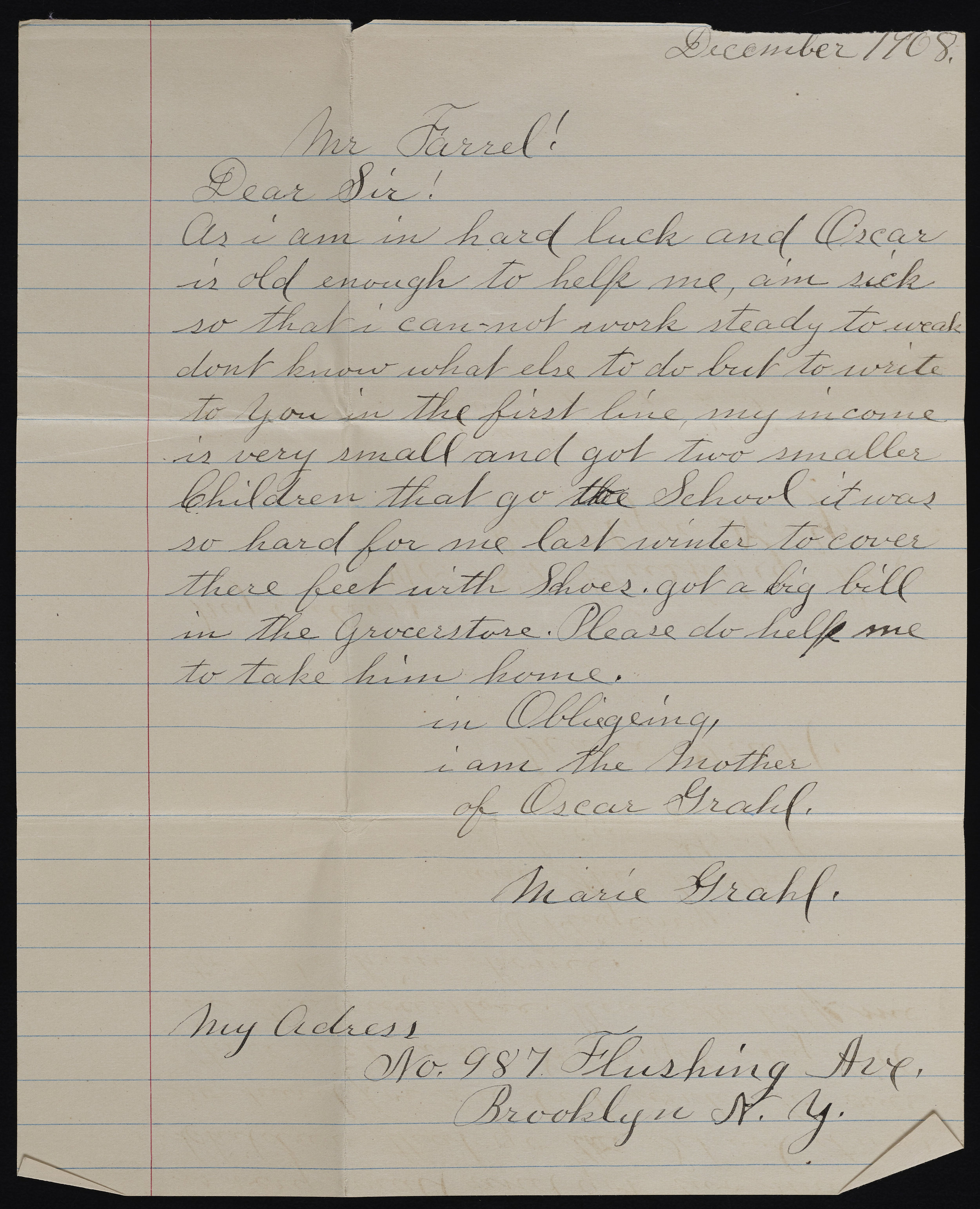 Letter from parent requesting her son's discharge, 1908. Records of the Brooklyn Disciplinary Training School for Boys, NYC Municipal Archives.