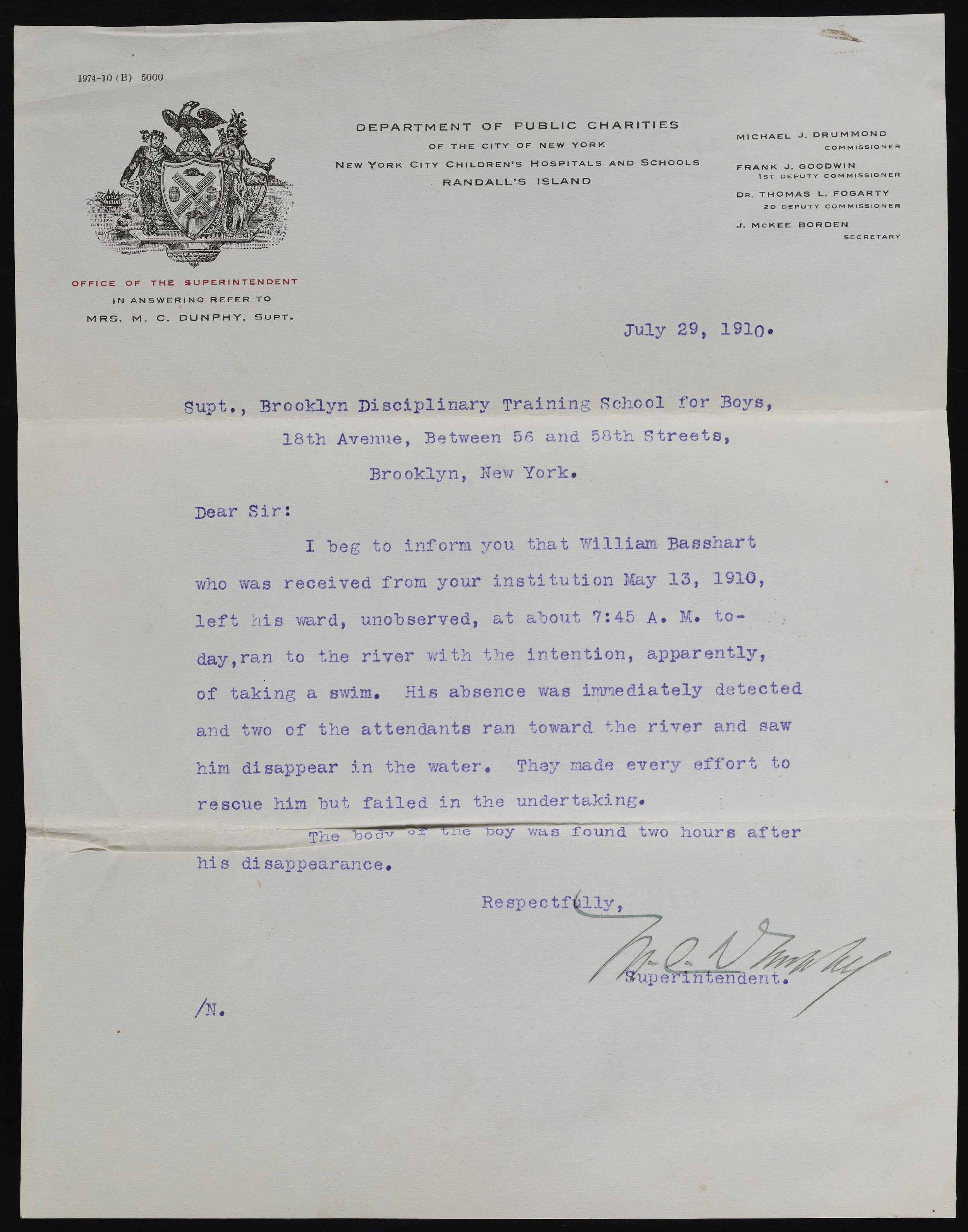 Letter concerning a former inmate who drowned trying to escape from Randall's Island, 1910. Records of the Brooklyn Disciplinary Training School for Boys, NYC Municipal Archives.